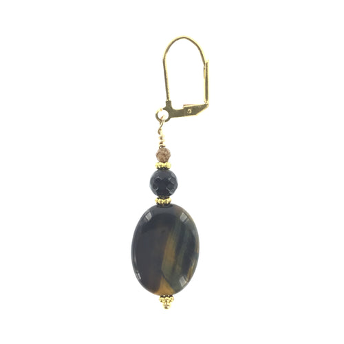 Tiger-eye and Onyx Drop Earring - Real Chic Boutique  - 1