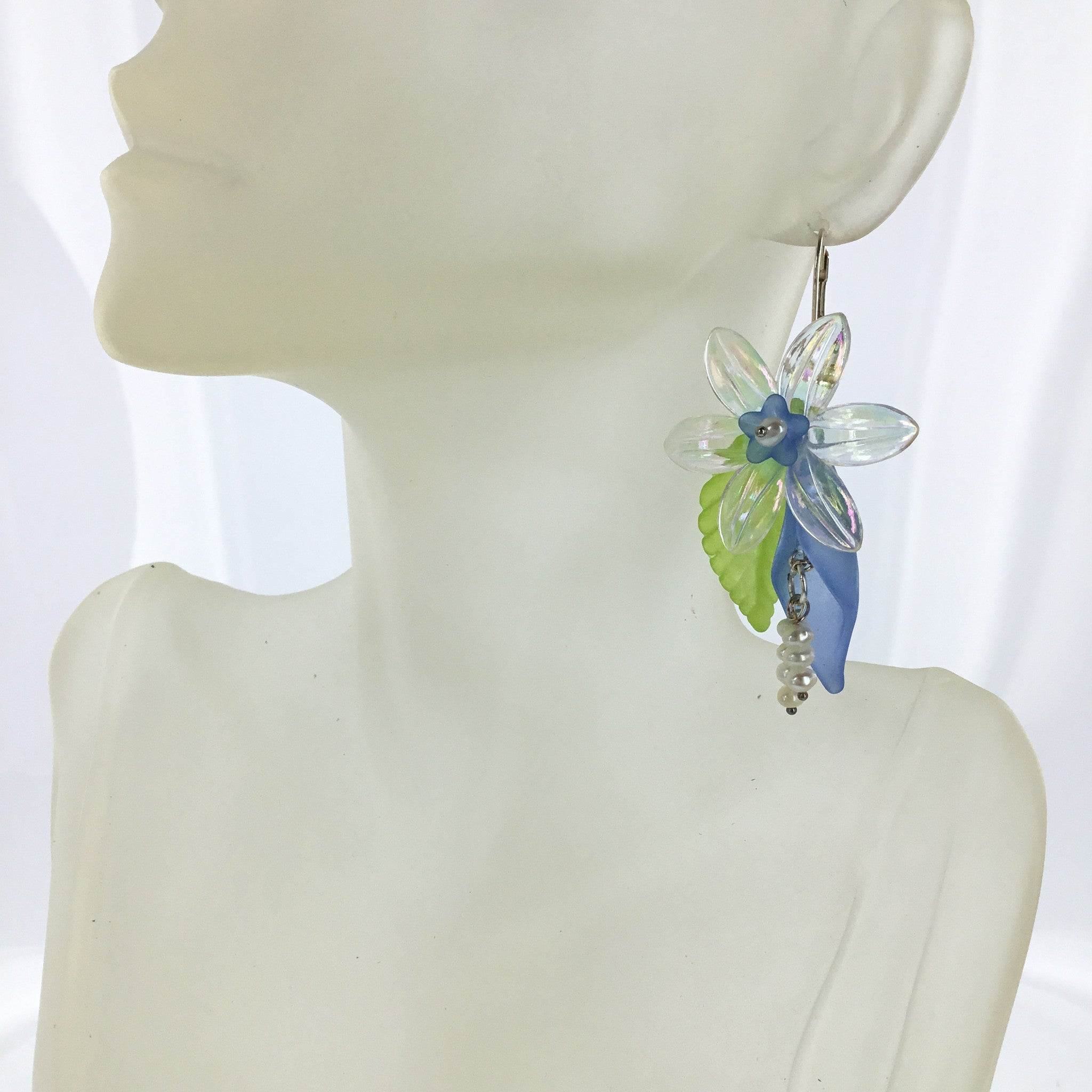 Lucite Blue and Clear Flower Drop Earring - Real Chic Boutique  - 1