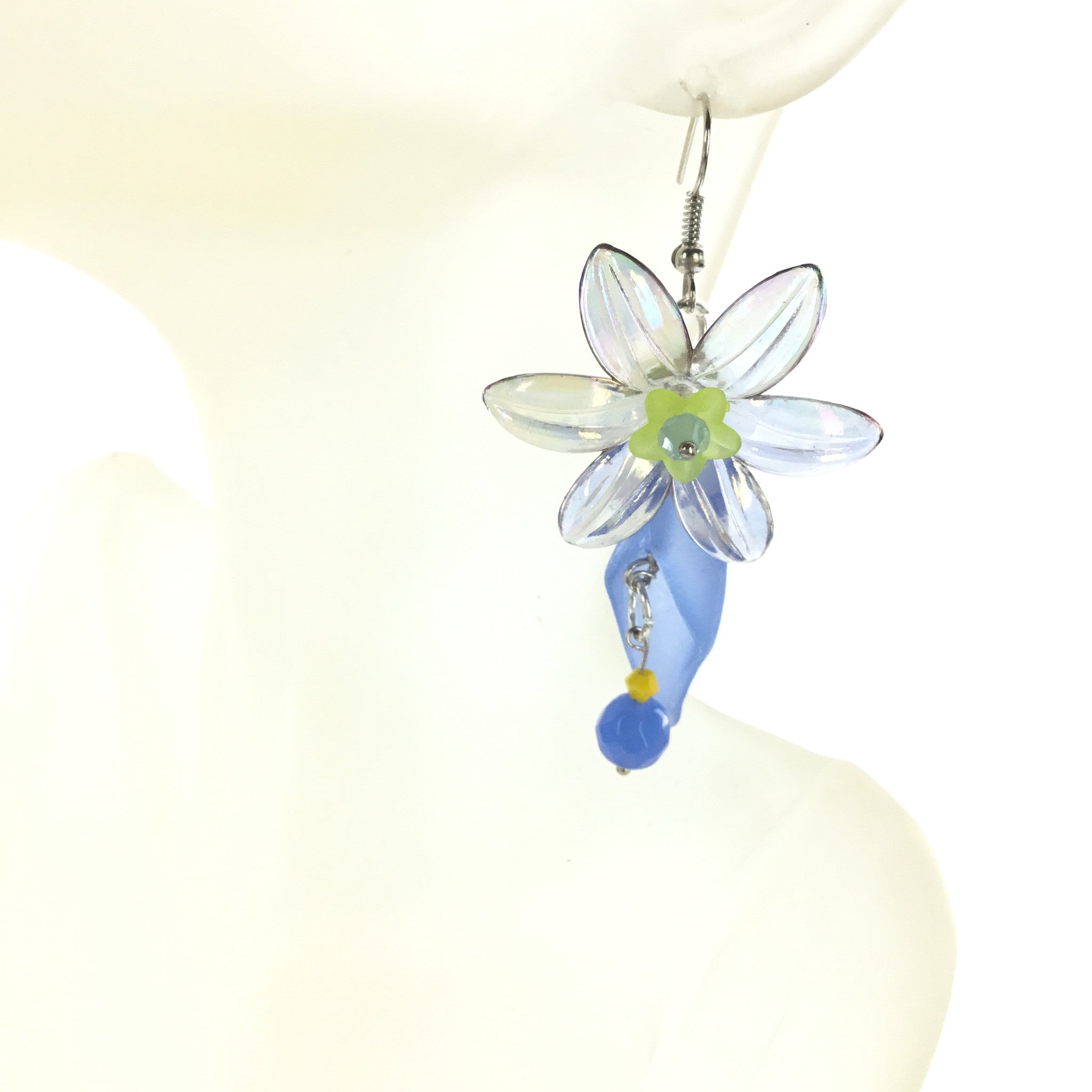 Lucite Blue and Yellow Flower Drop Earring - Real Chic Boutique  - 1