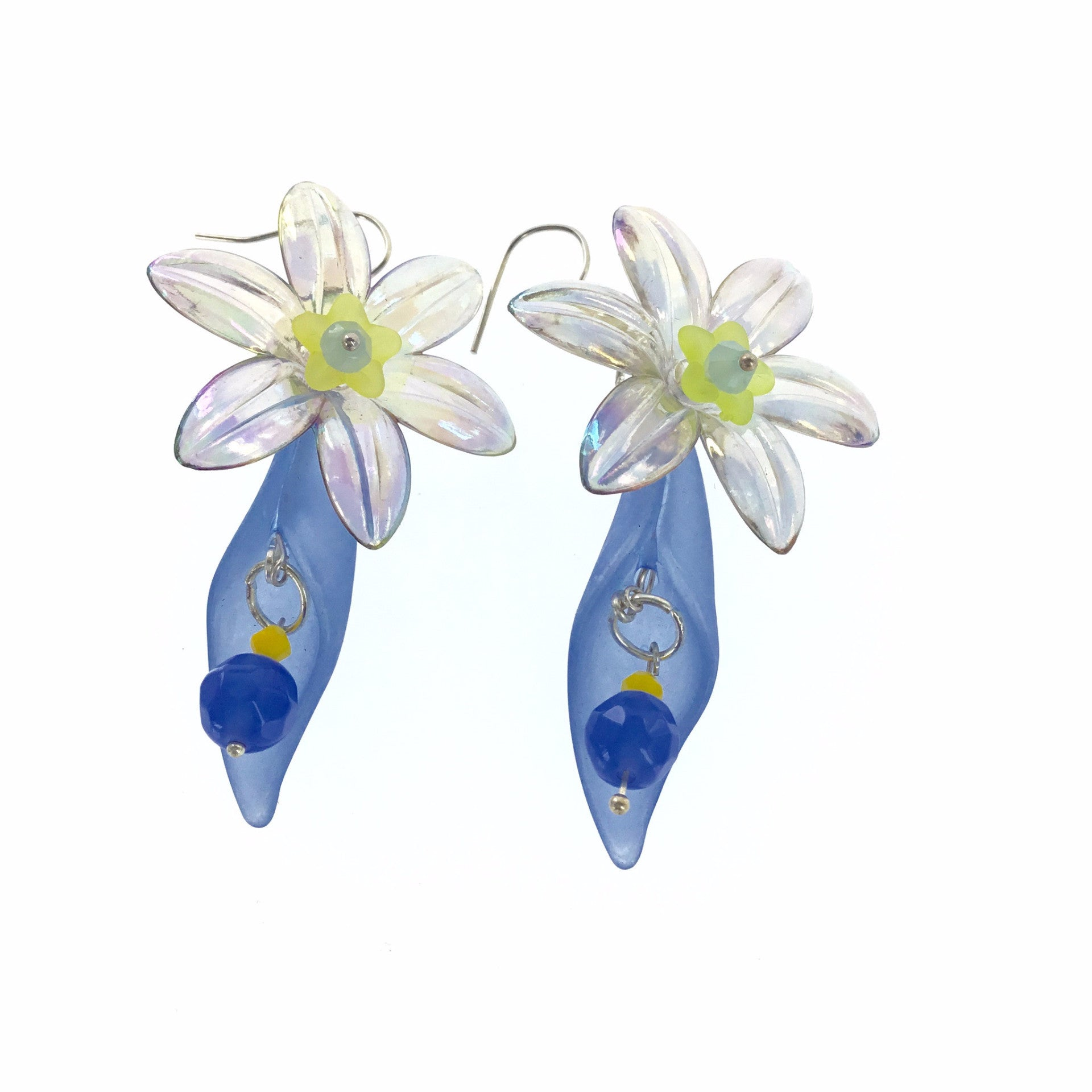Lucite Blue and Yellow Flower Drop Earring - Real Chic Boutique  - 2