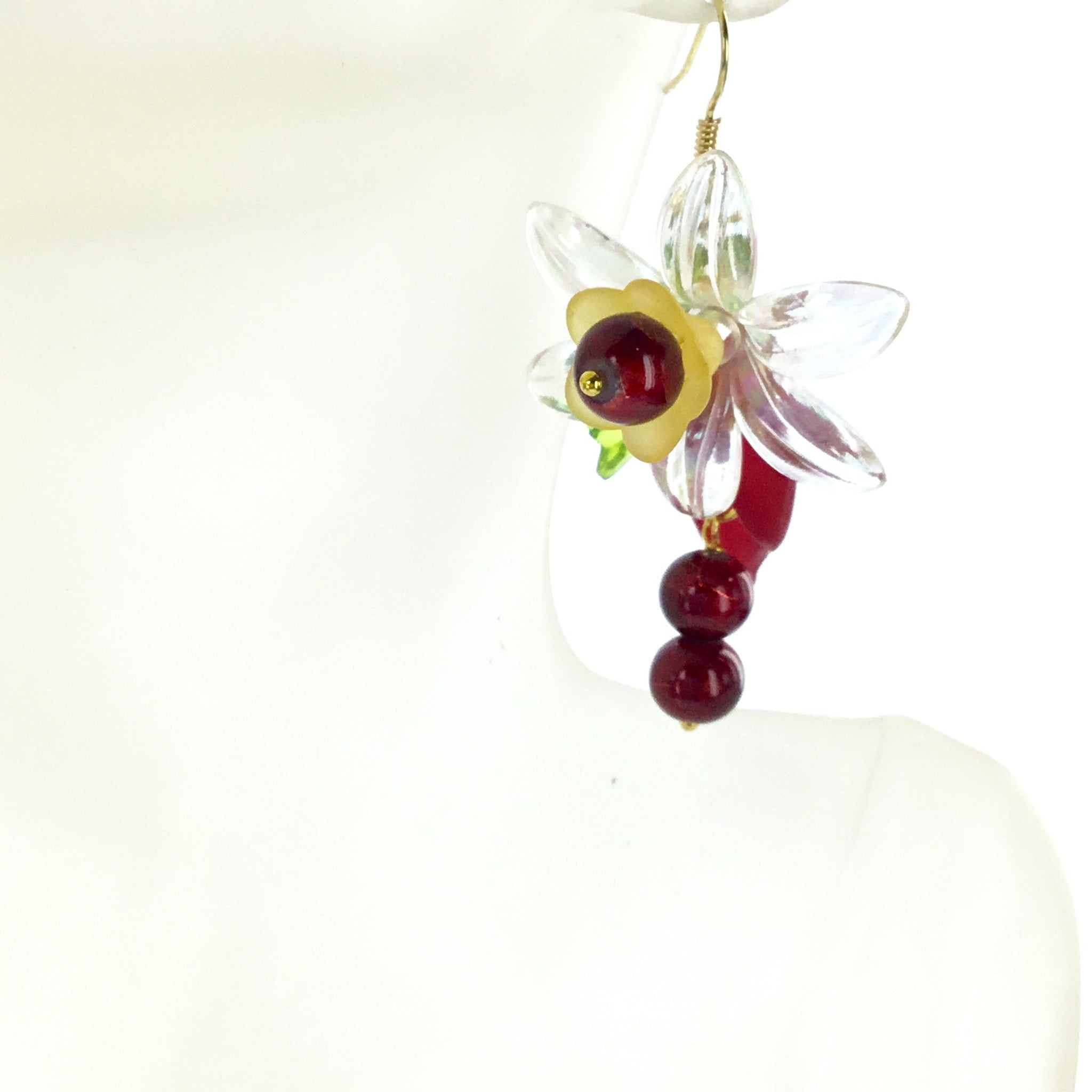 Lucite Red and Yellow Flower Drop Earring - Real Chic Boutique  - 1