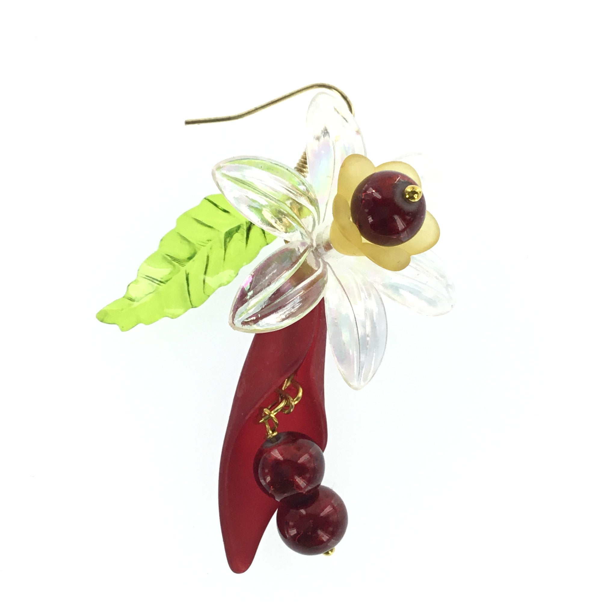 Lucite Red and Yellow Flower Drop Earring - Real Chic Boutique  - 2