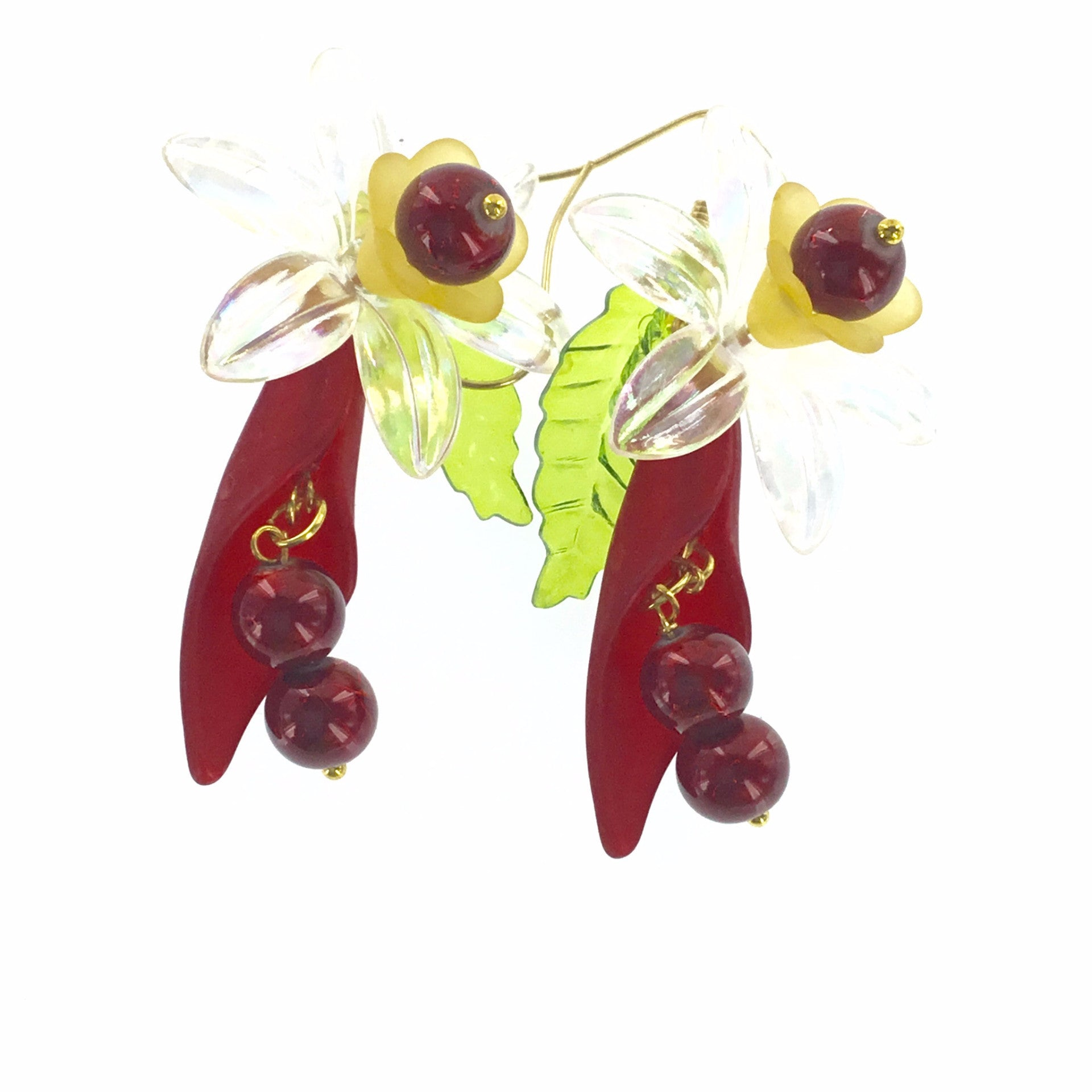 Lucite Red and Yellow Flower Drop Earring - Real Chic Boutique  - 3