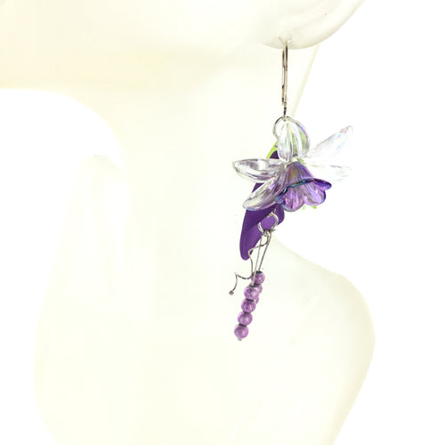 Lucite Drop Earring with Purple and Clear Flower - Real Chic Boutique  - 1
