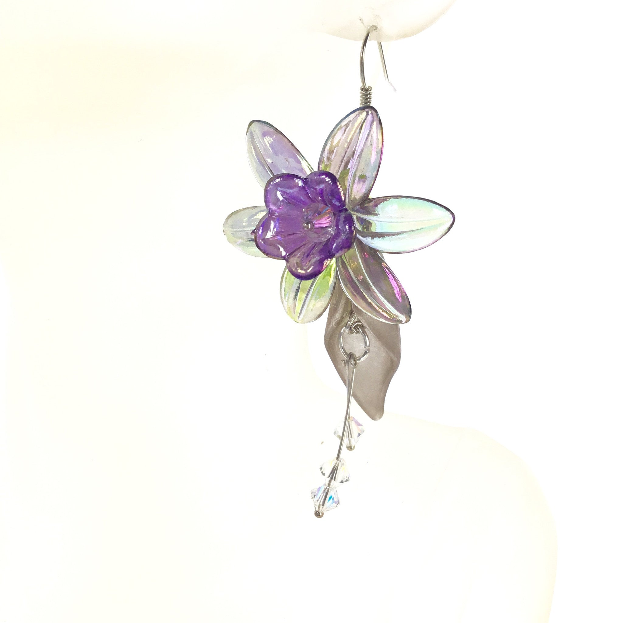 Lucite Gray and Purple Flower Drop Earring - Real Chic Boutique  - 1