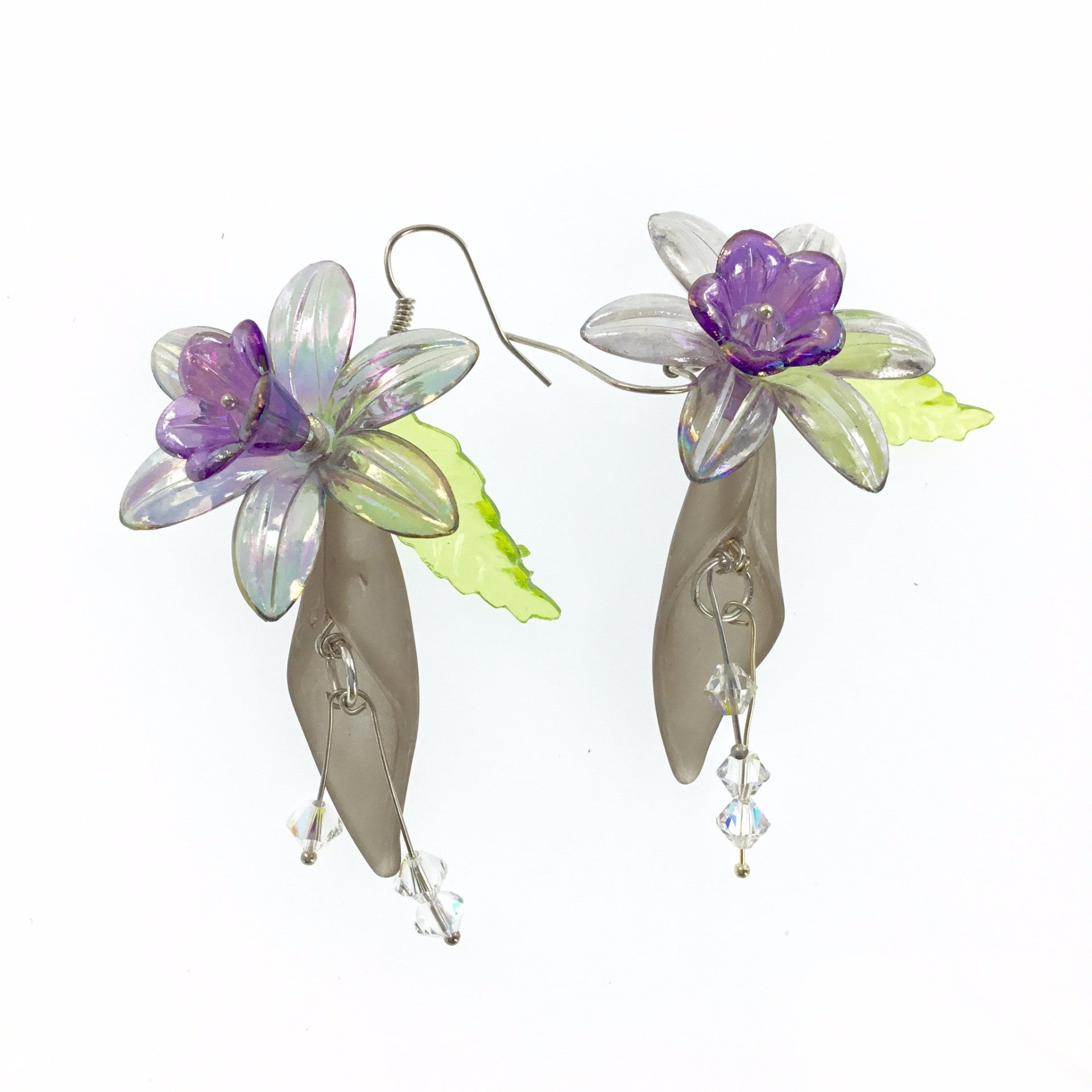 Lucite Gray and Purple Flower Drop Earring - Real Chic Boutique  - 2