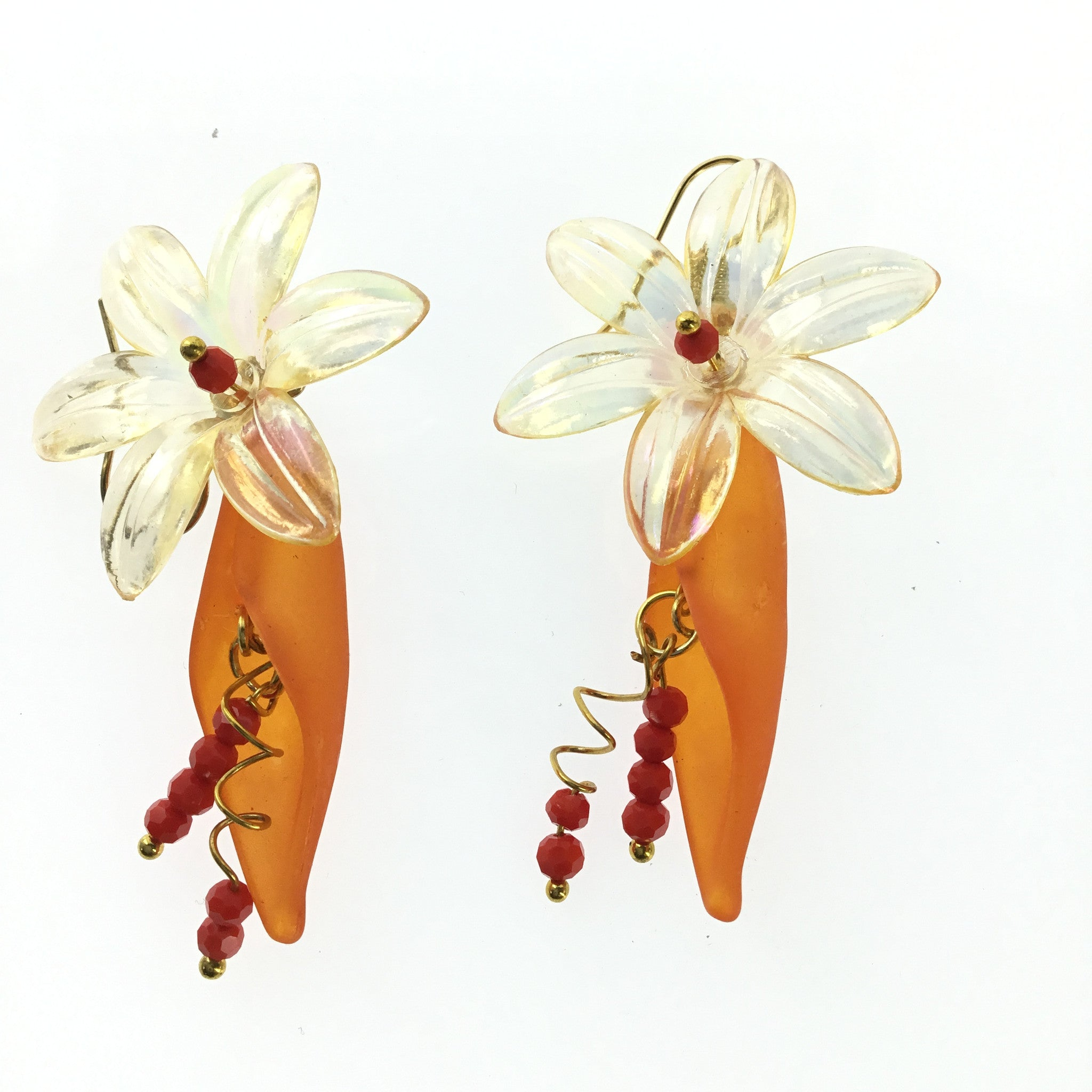 Lucite Yellow and Orange Flower Drop Earring - Real Chic Boutique  - 2