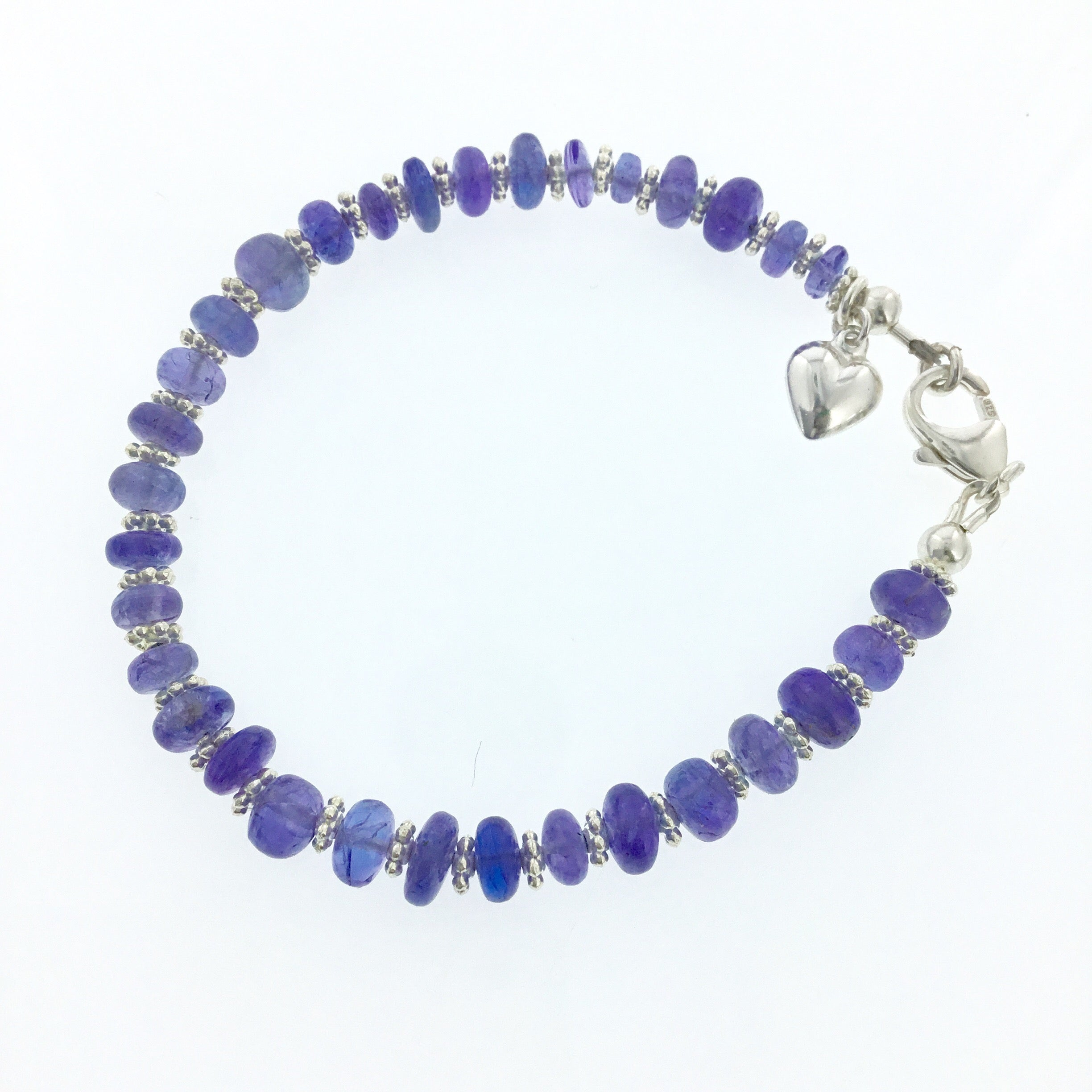 Tanzanite Tennis Bracelet with Sterling Silver Puff Heart Charm