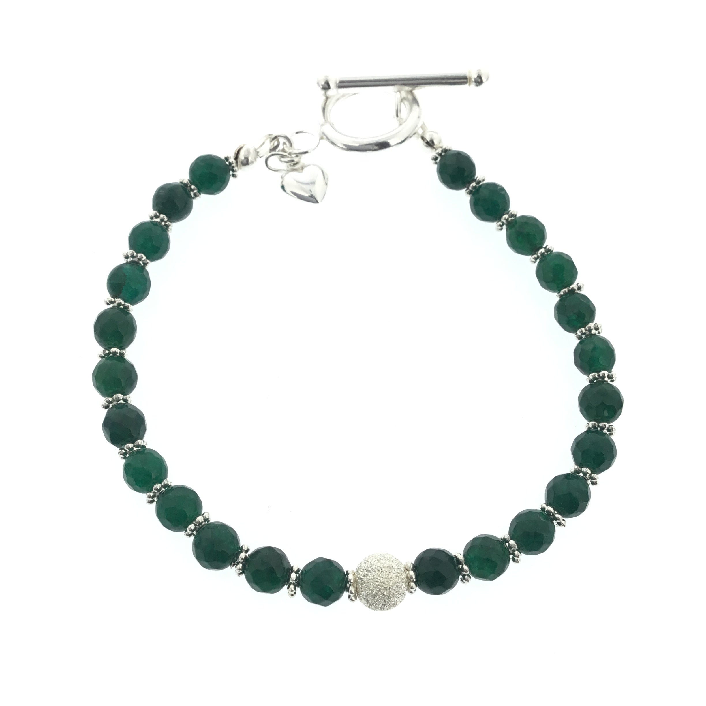 Moss Green Agate Bracelet with Sterling Silver Swarovski Pave Accent and Sterling Silver Puff Heart