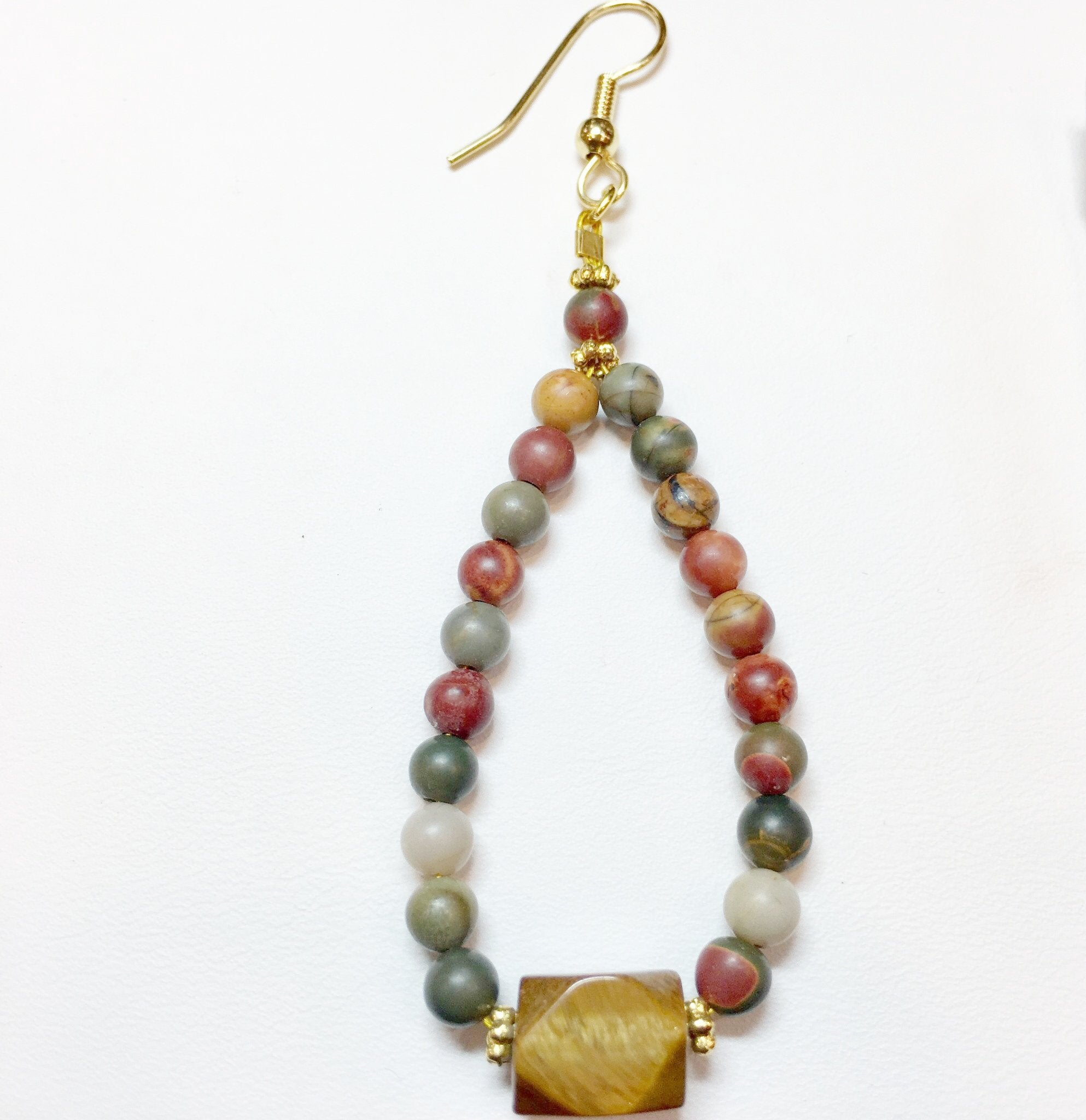 Red Jasper and Jasper Drop Earring - Real Chic Boutique  - 1