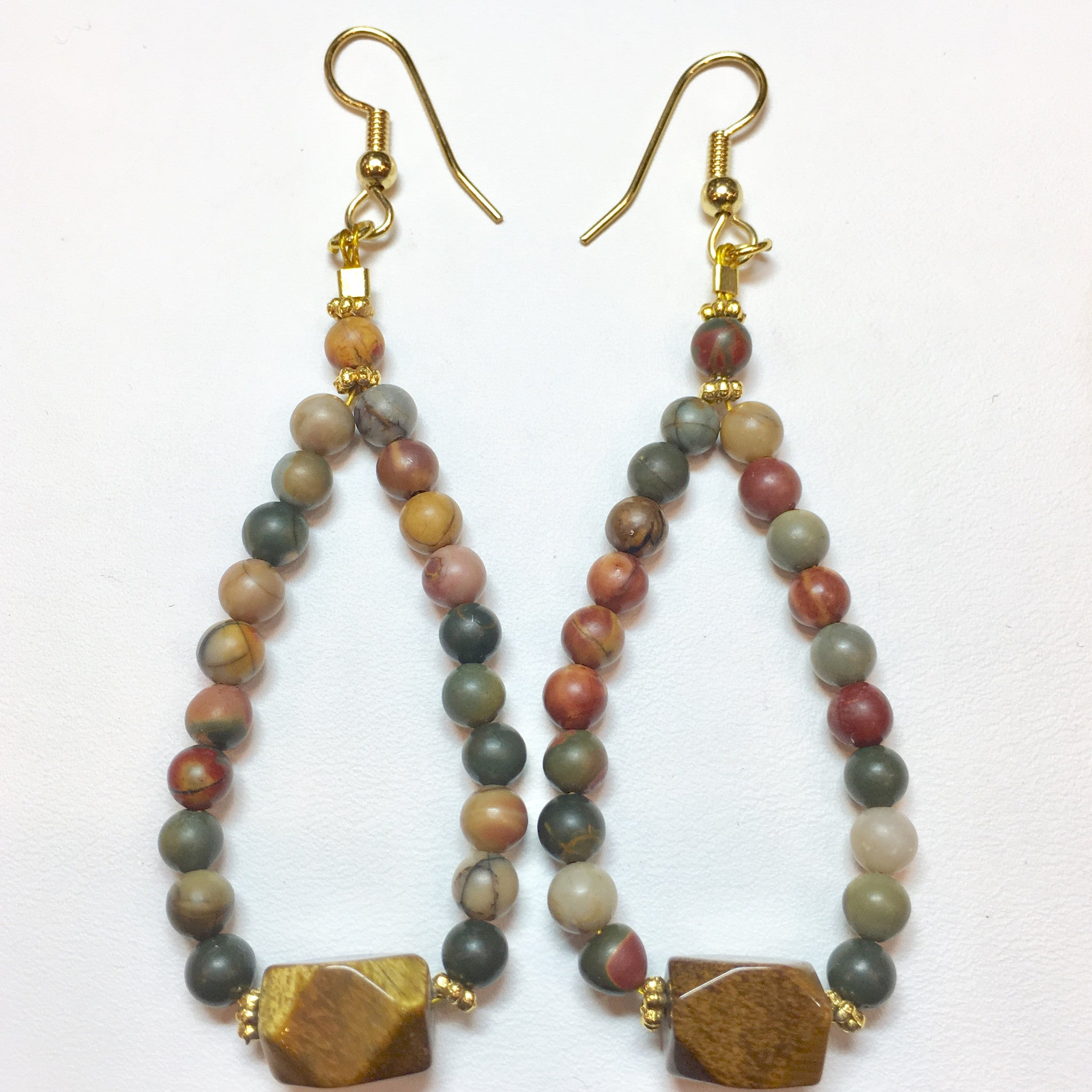 Red Jasper and Jasper Drop Earring - Real Chic Boutique  - 3