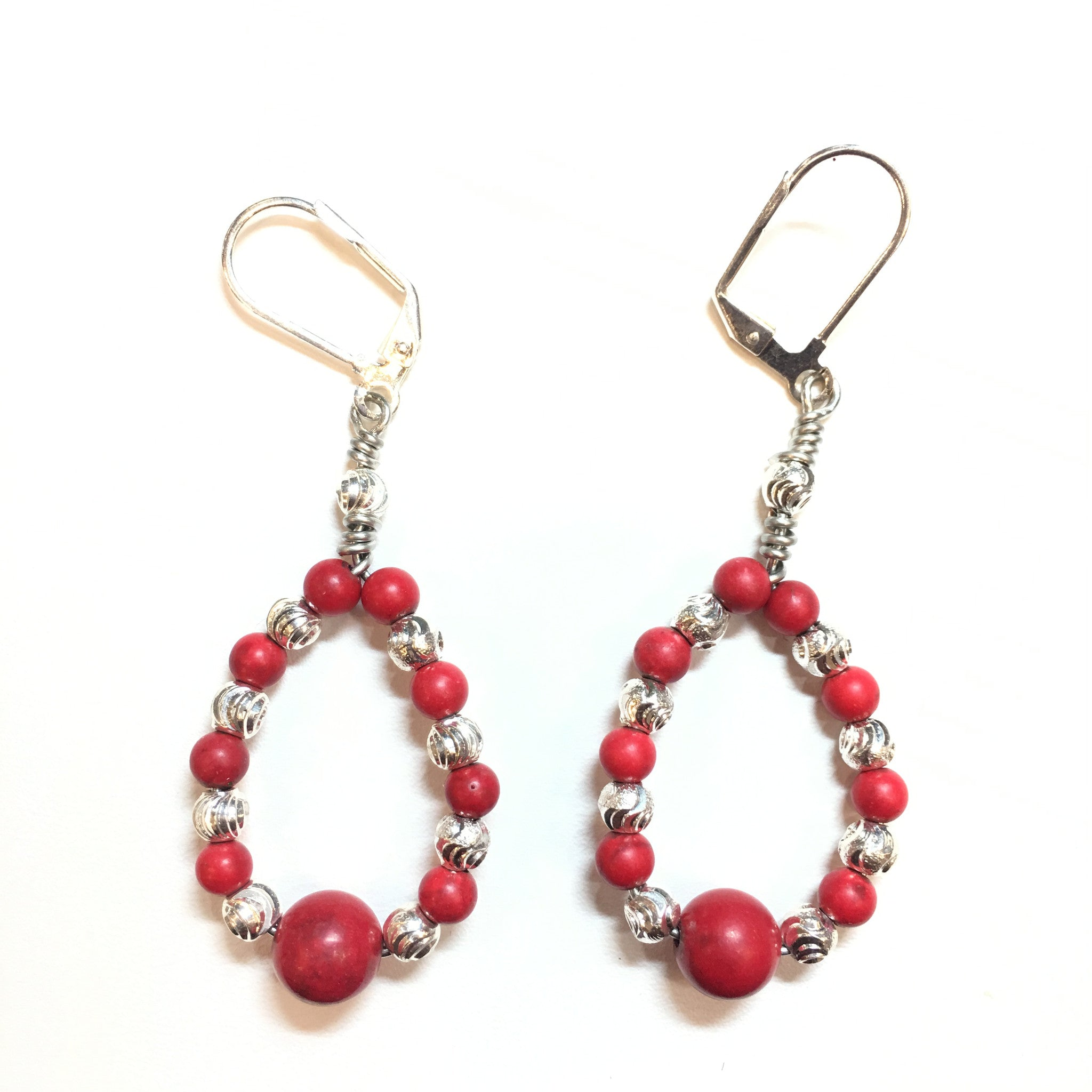 Red Coral and Silver Teardrop Earring - Real Chic Boutique  - 1