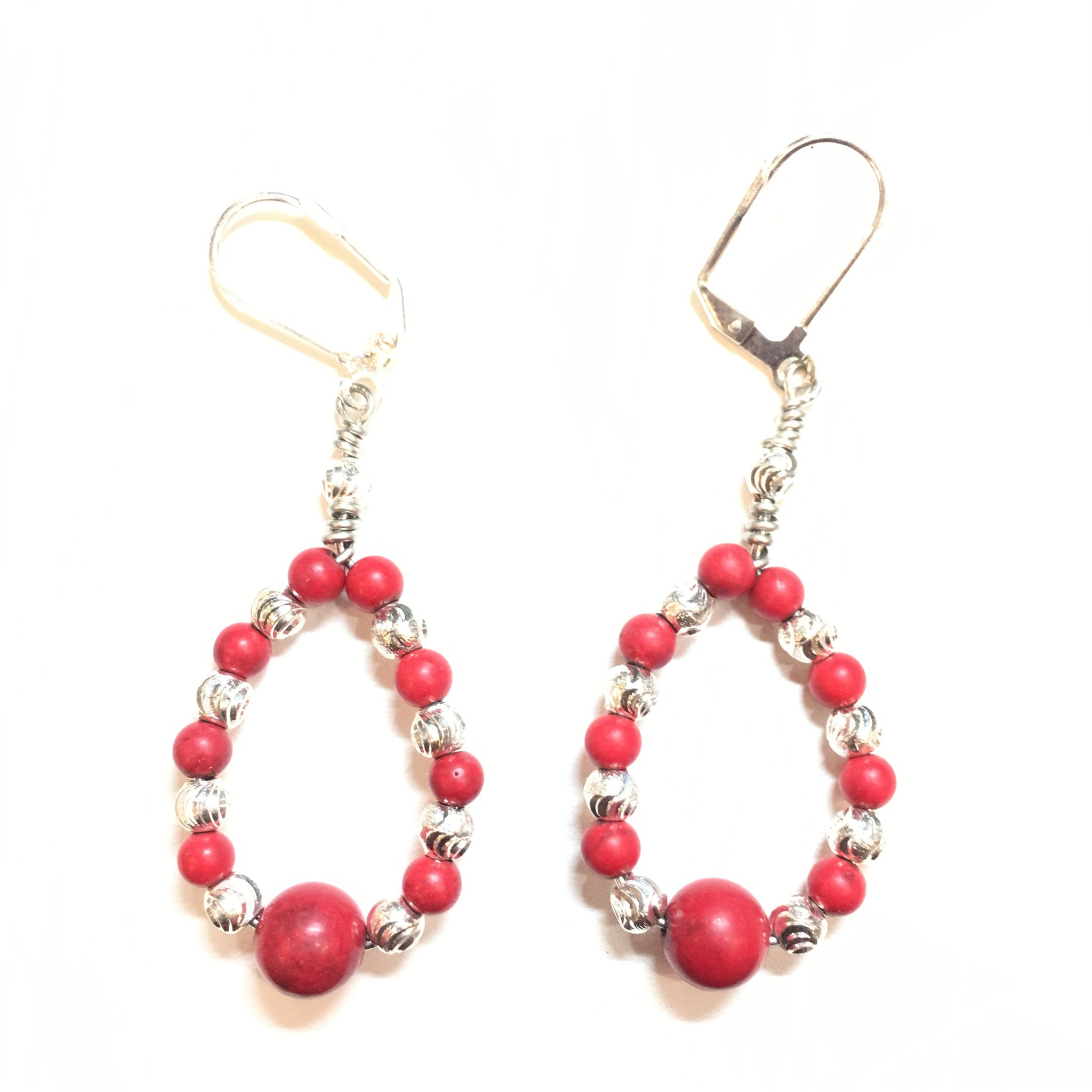 Red Coral and Silver Teardrop Earring - Real Chic Boutique  - 2