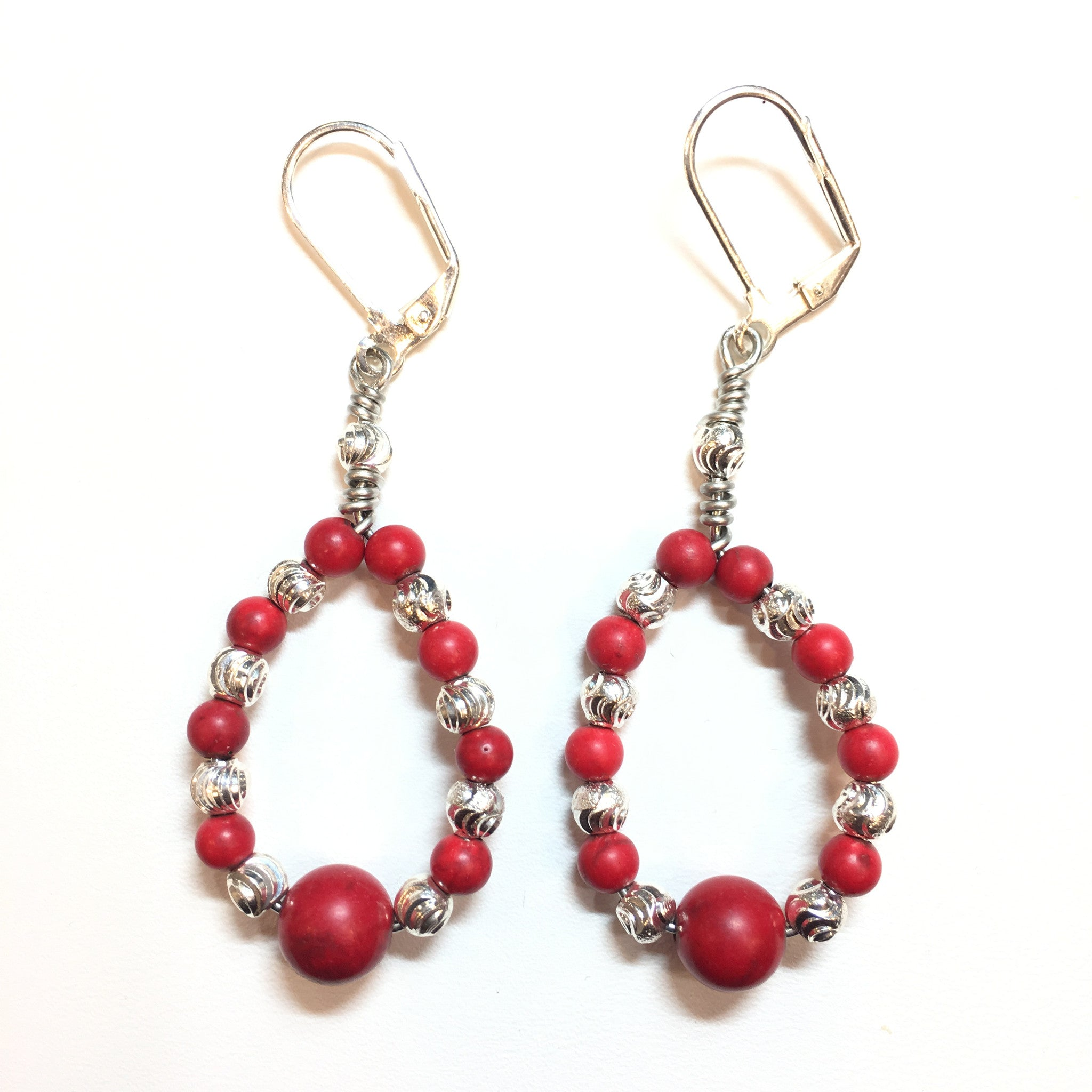 Red Coral and Silver Teardrop Earring - Real Chic Boutique  - 3