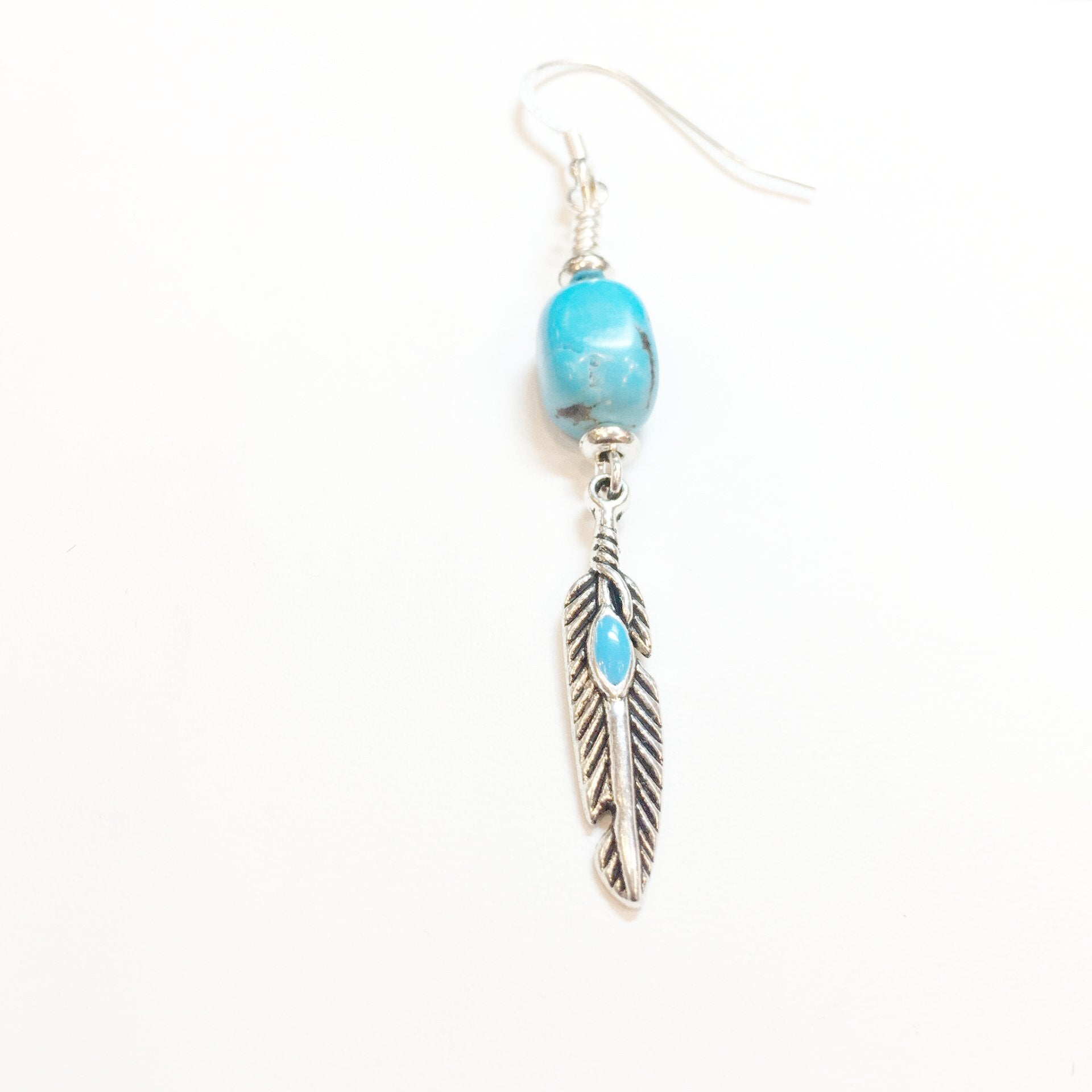 Turquoise and Silver Drop Earring - Real Chic Boutique  - 1