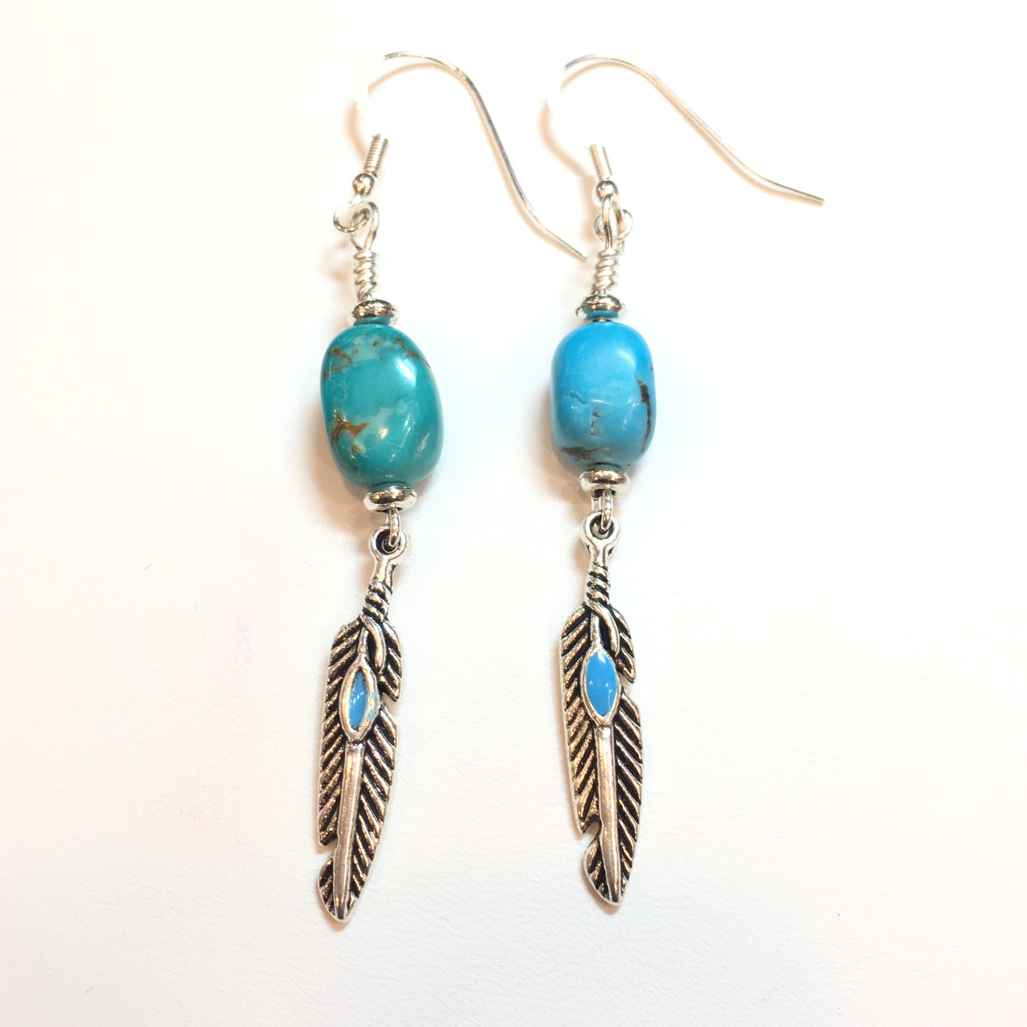 Turquoise and Silver Drop Earring - Real Chic Boutique  - 2