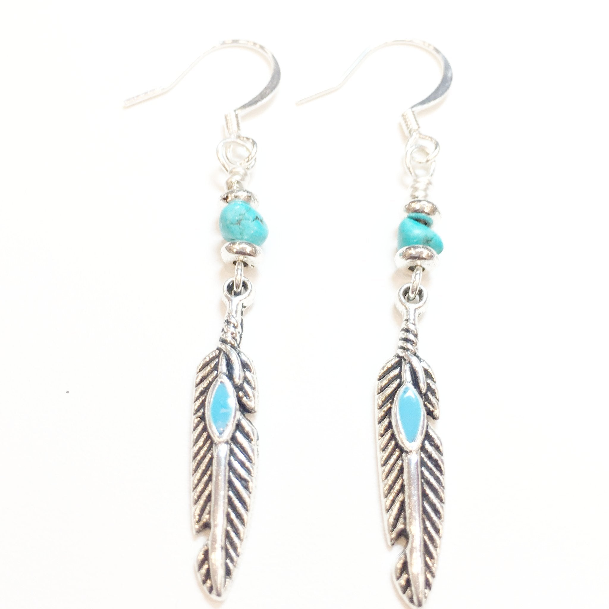 Turquoise and Silver Teardrop Earring - Real Chic Boutique  - 1