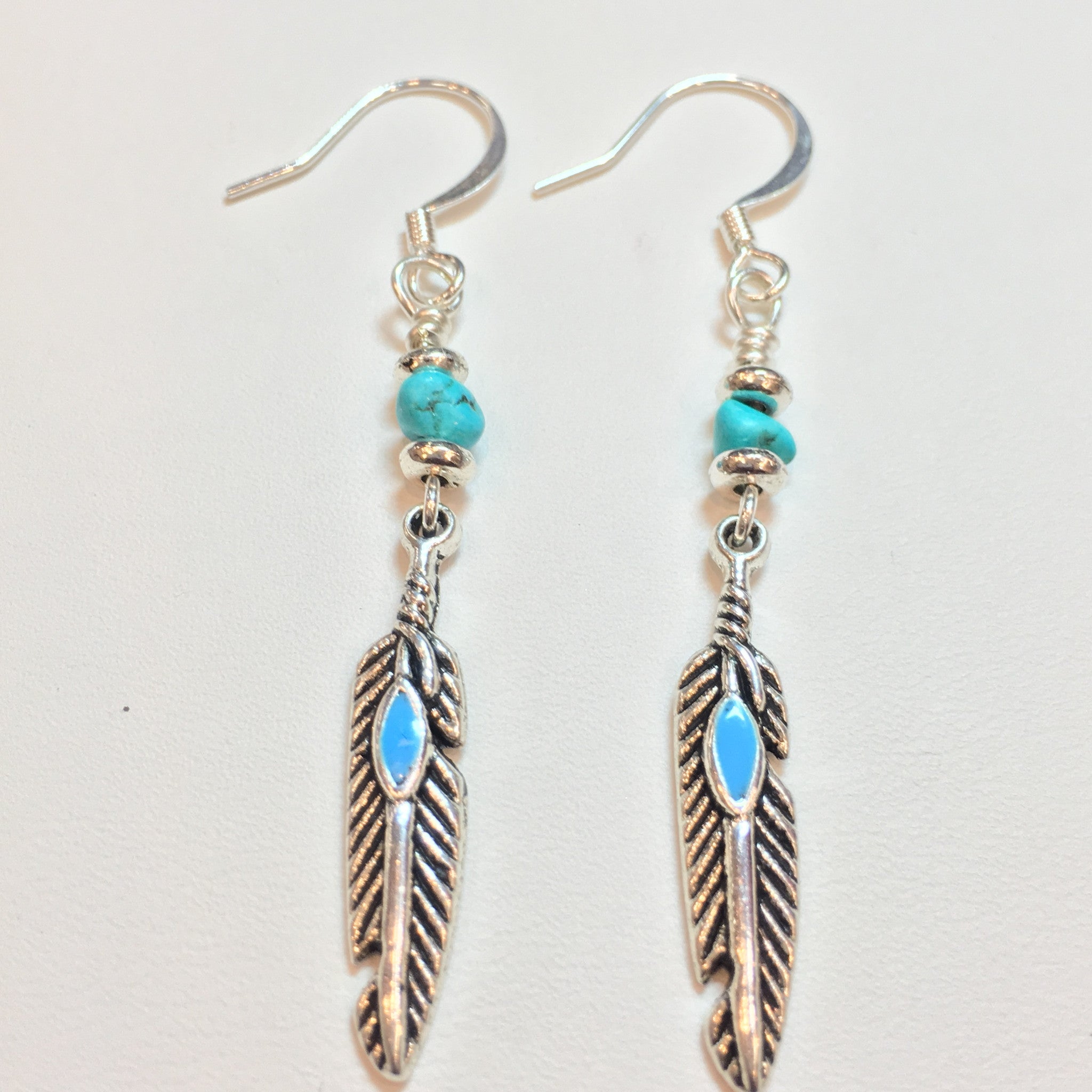 Turquoise and Silver Teardrop Earring - Real Chic Boutique  - 3
