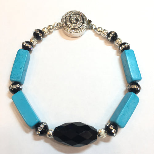 Black Onyx, Murano and Howlite Bracelet - Real Chic Boutique  - 1
