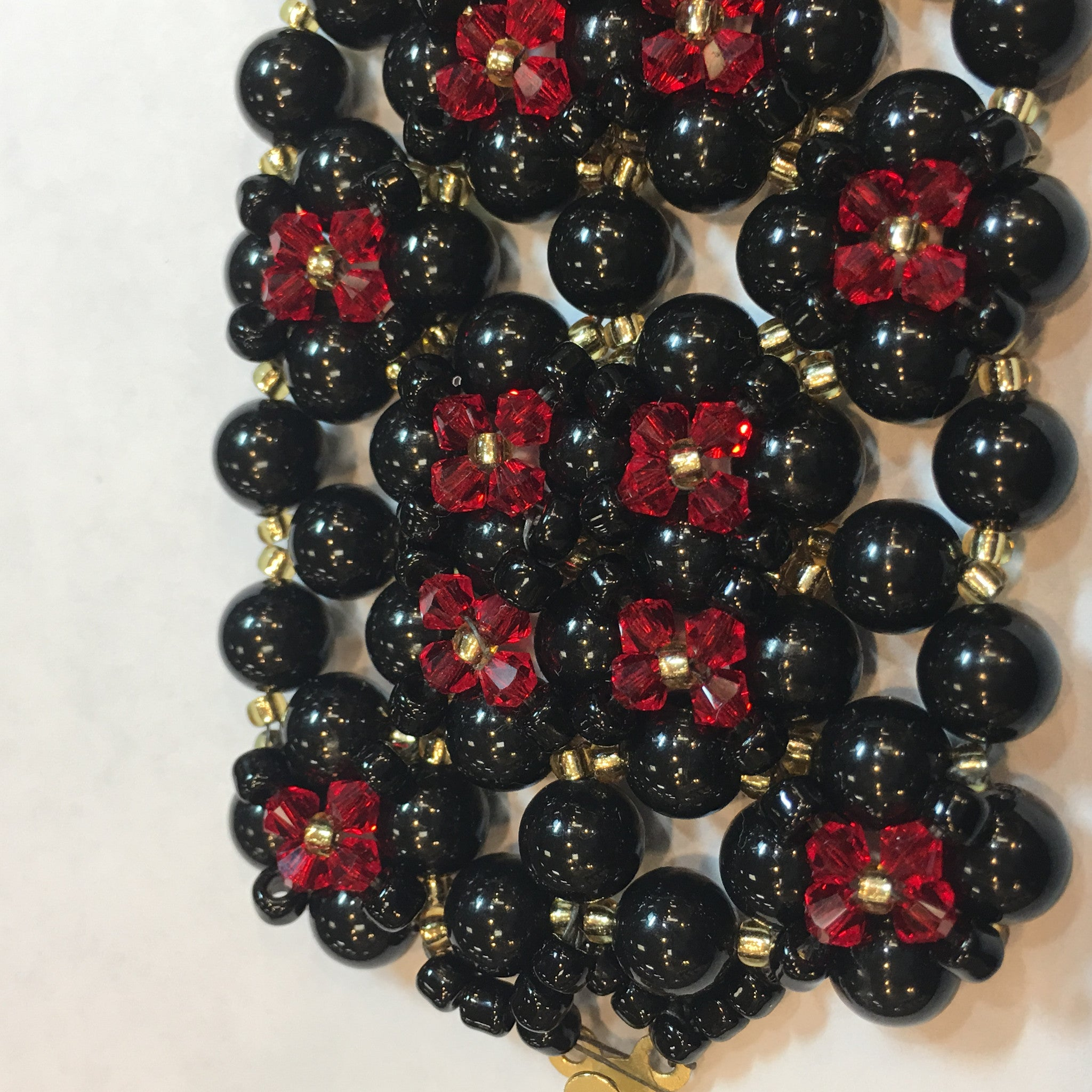 Swarovski Black Pearl and Red Crystal Bracelet (Quad) - Real Chic Boutique  - 2