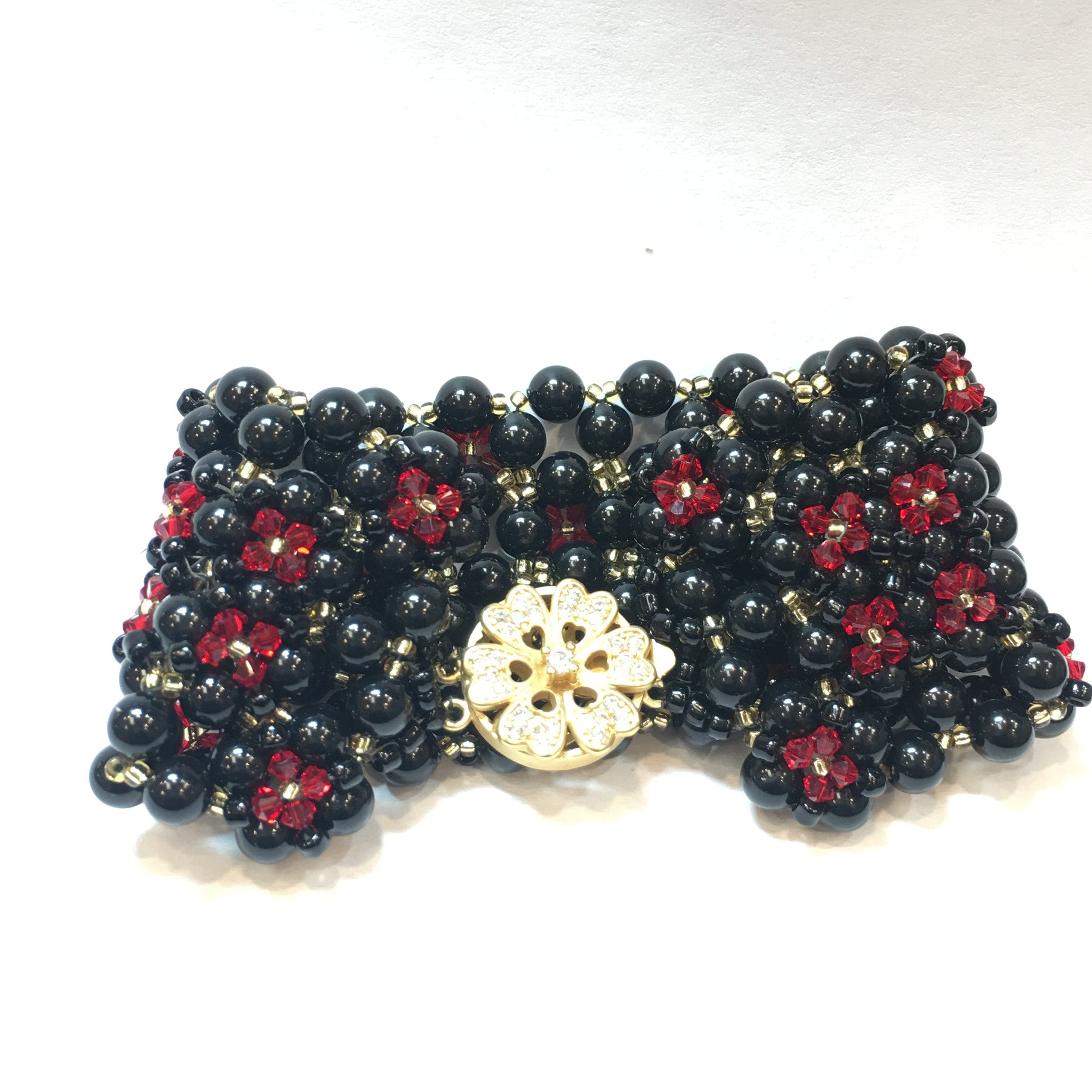Swarovski Black Pearl and Red Crystal Bracelet (Quad) - Real Chic Boutique  - 5