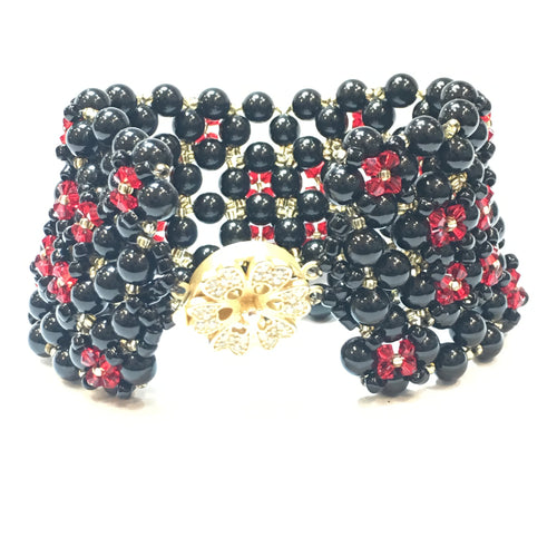 Swarovski Black Pearl and Red Crystal Bracelet (Quad) - Real Chic Boutique  - 1