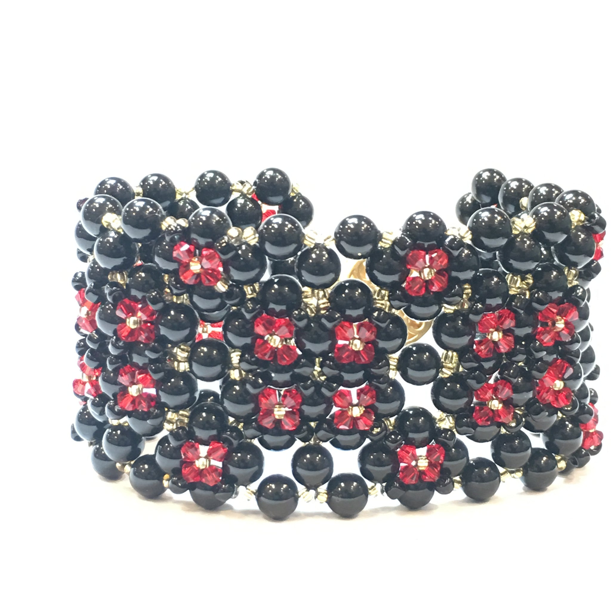 Swarovski Black Pearl and Red Crystal Bracelet (Quad) - Real Chic Boutique  - 6