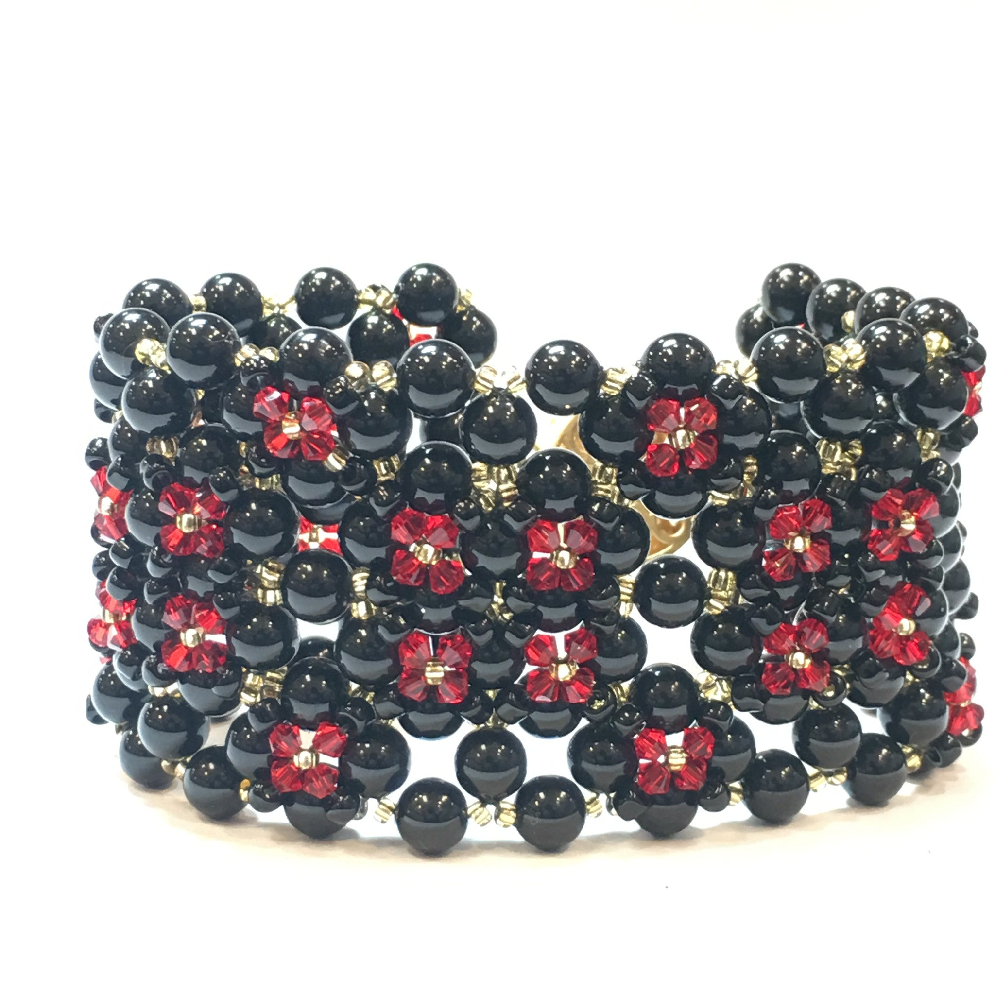 Swarovski Black Pearl and Red Crystal Bracelet (Quad) - Real Chic Boutique  - 4