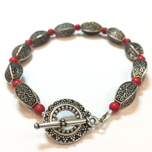 Coral and Antique Silver Bracelet - Real Chic Boutique  - 1
