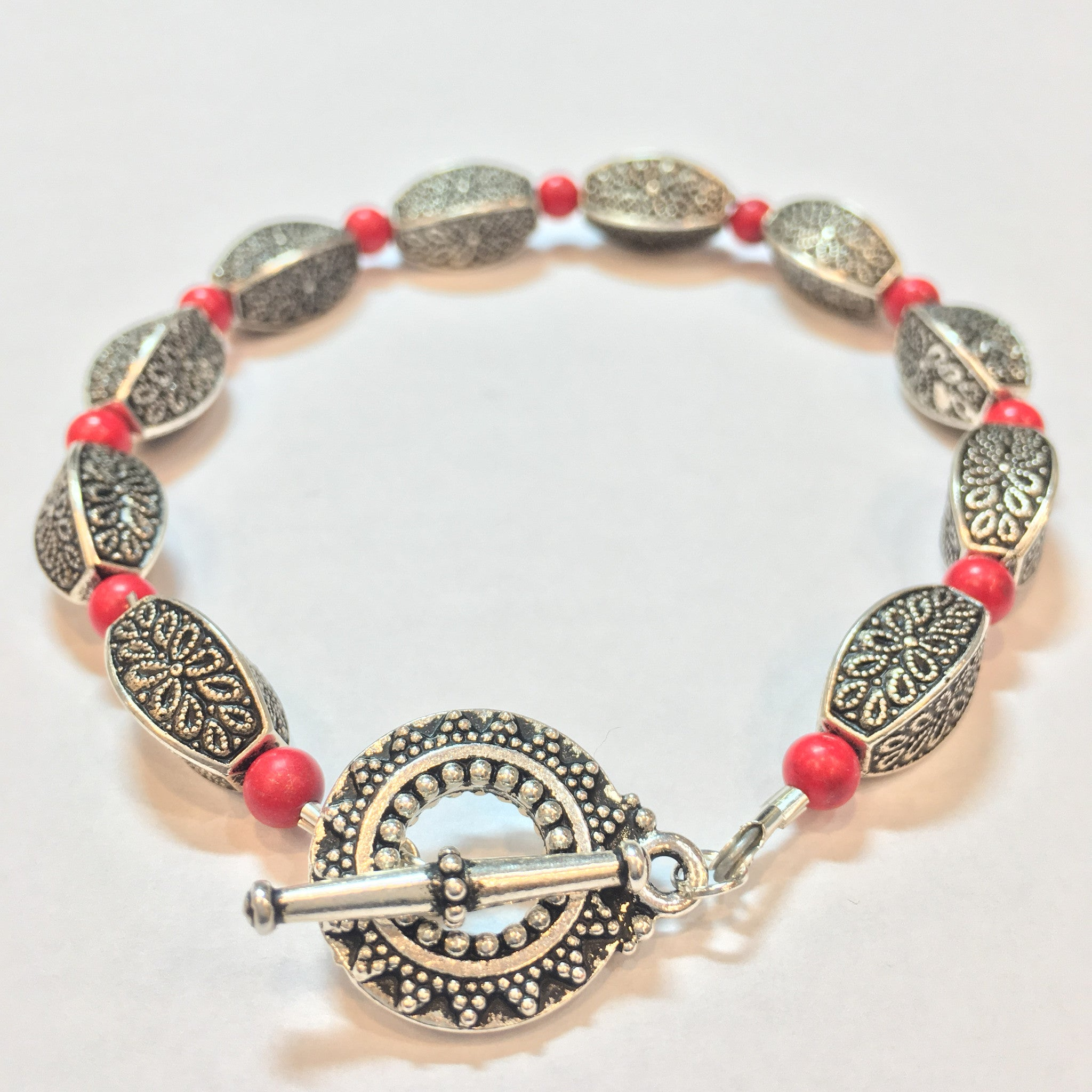 Coral and Antique Silver Bracelet - Real Chic Boutique  - 2