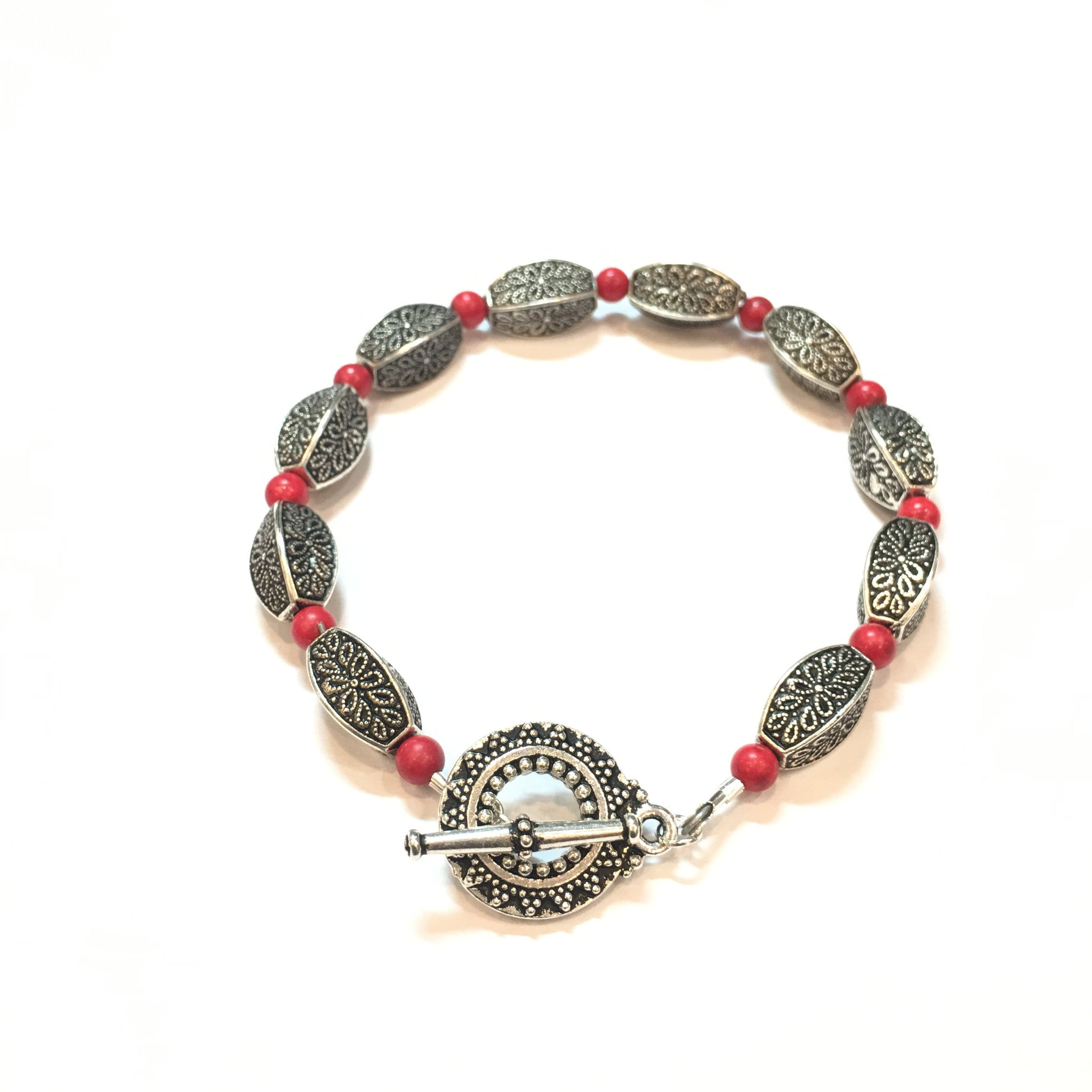 Coral and Antique Silver Bracelet - Real Chic Boutique  - 3