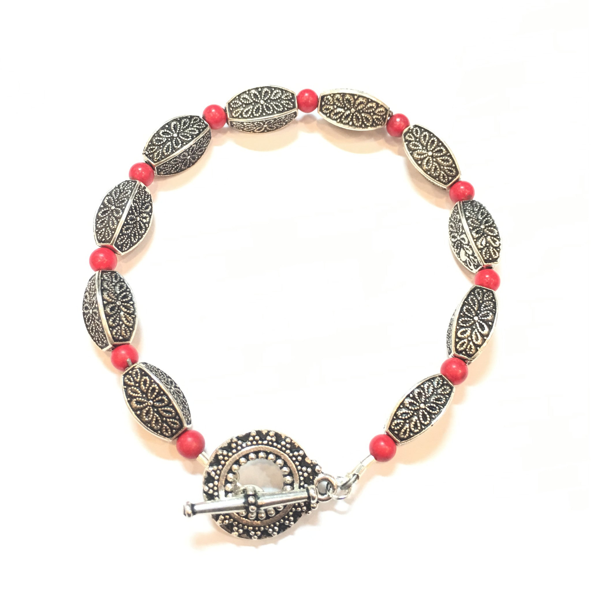 Coral and Antique Silver Bracelet - Real Chic Boutique  - 4