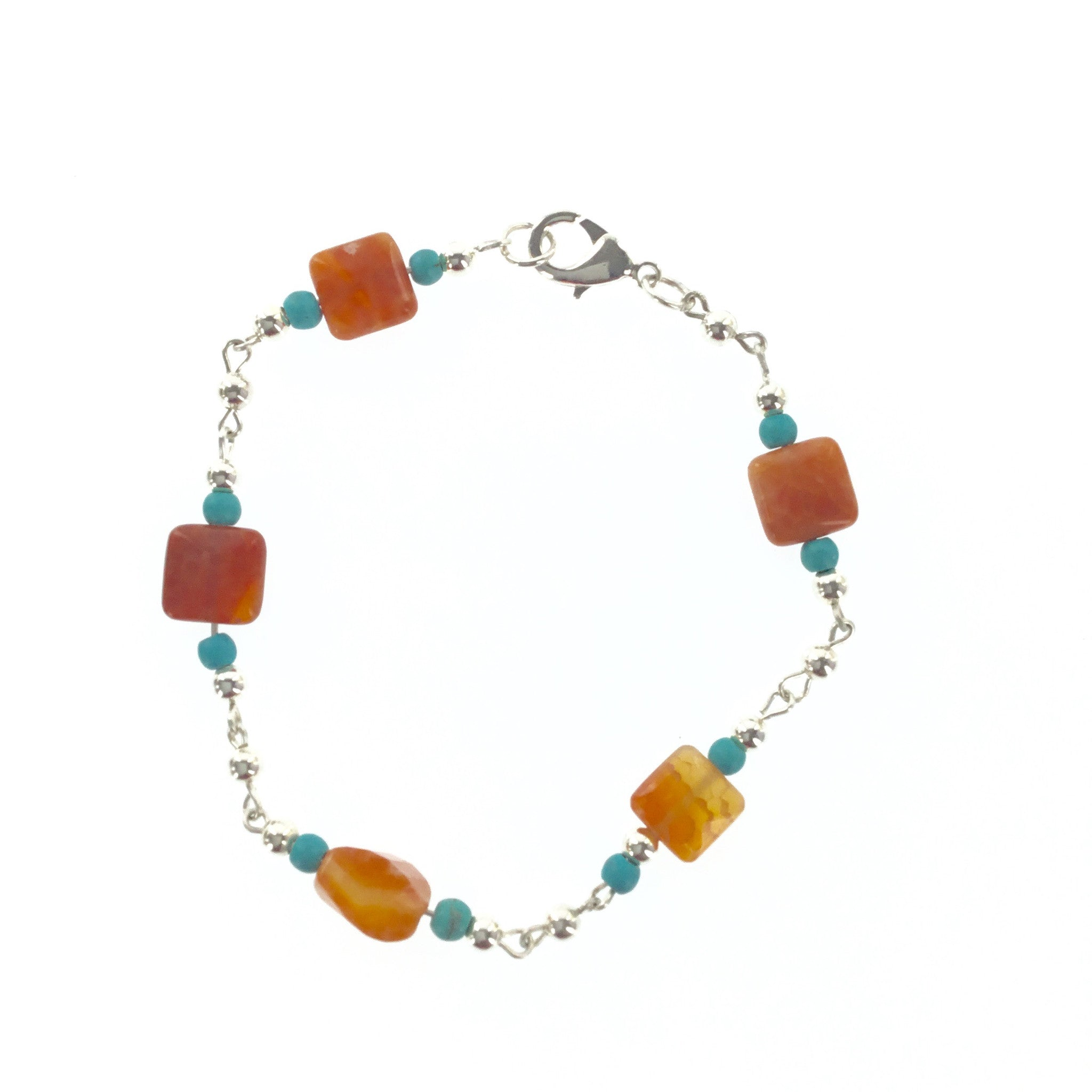 Fire Red Agate and Turquoise Blue Bracelet - Real Chic Boutique  - 1