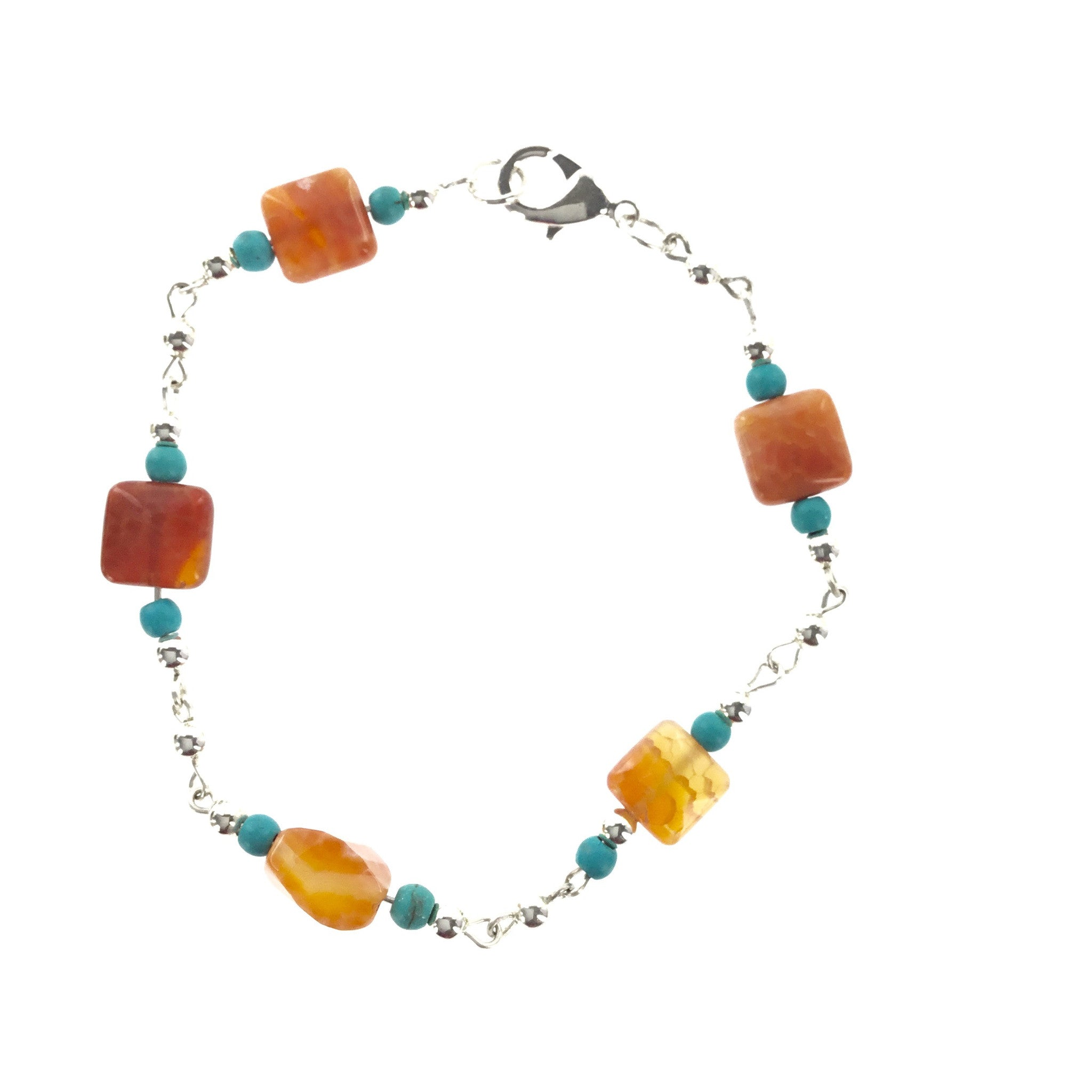 Fire Red Agate and Turquoise Blue Bracelet - Real Chic Boutique  - 2