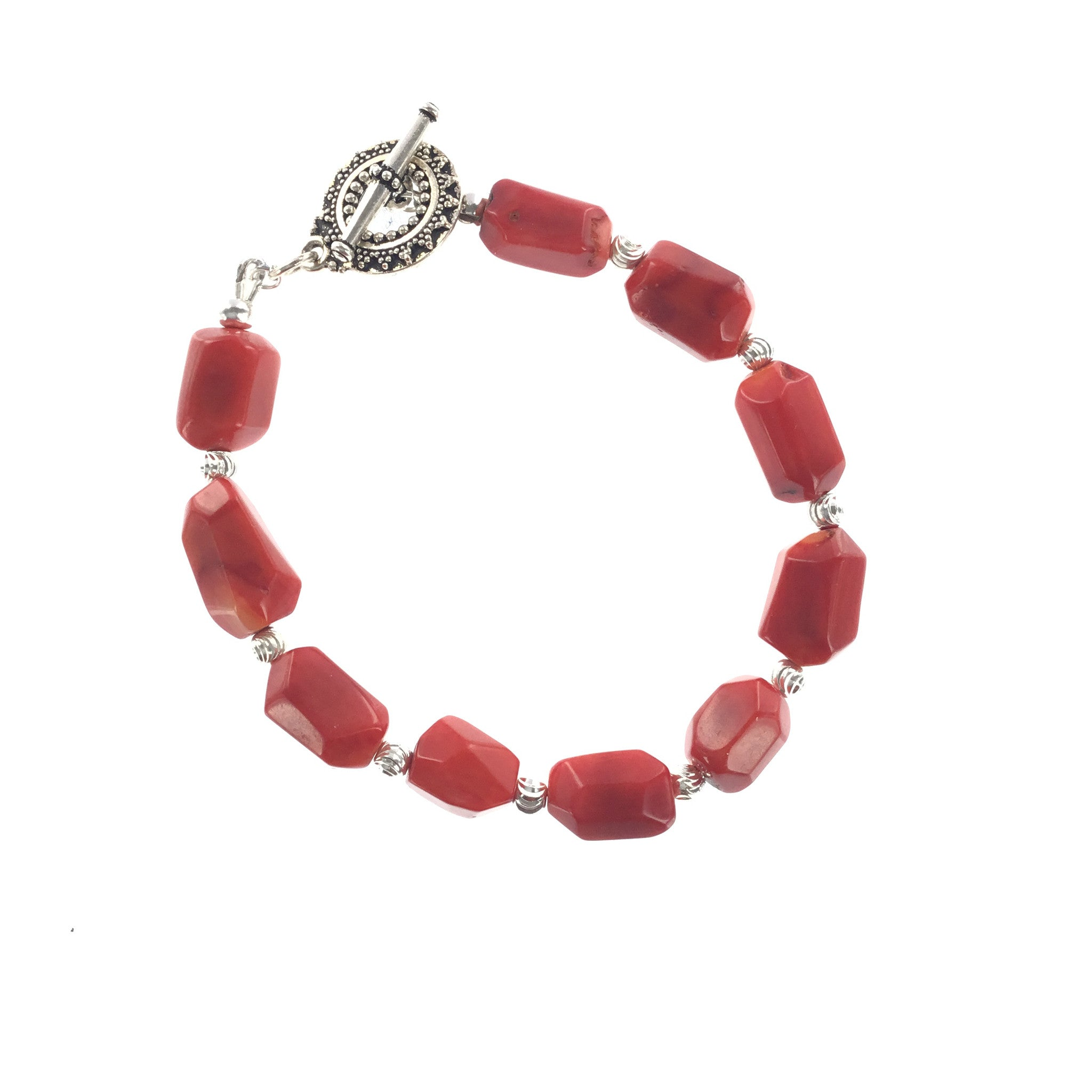Red Coral and Silver Bracelet - Real Chic Boutique  - 2