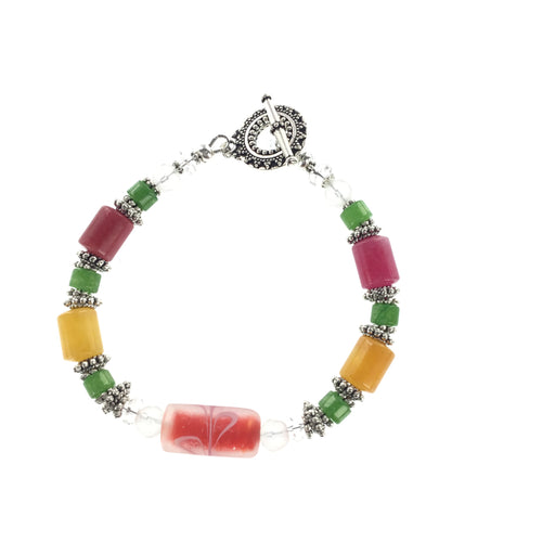 Jade and  Frosted Glass Bracelet - Real Chic Boutique  - 1