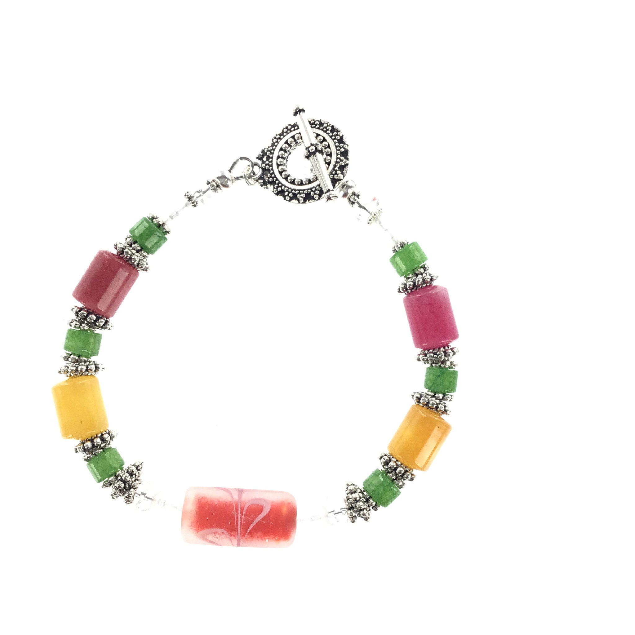 Jade and  Frosted Glass Bracelet - Real Chic Boutique  - 3