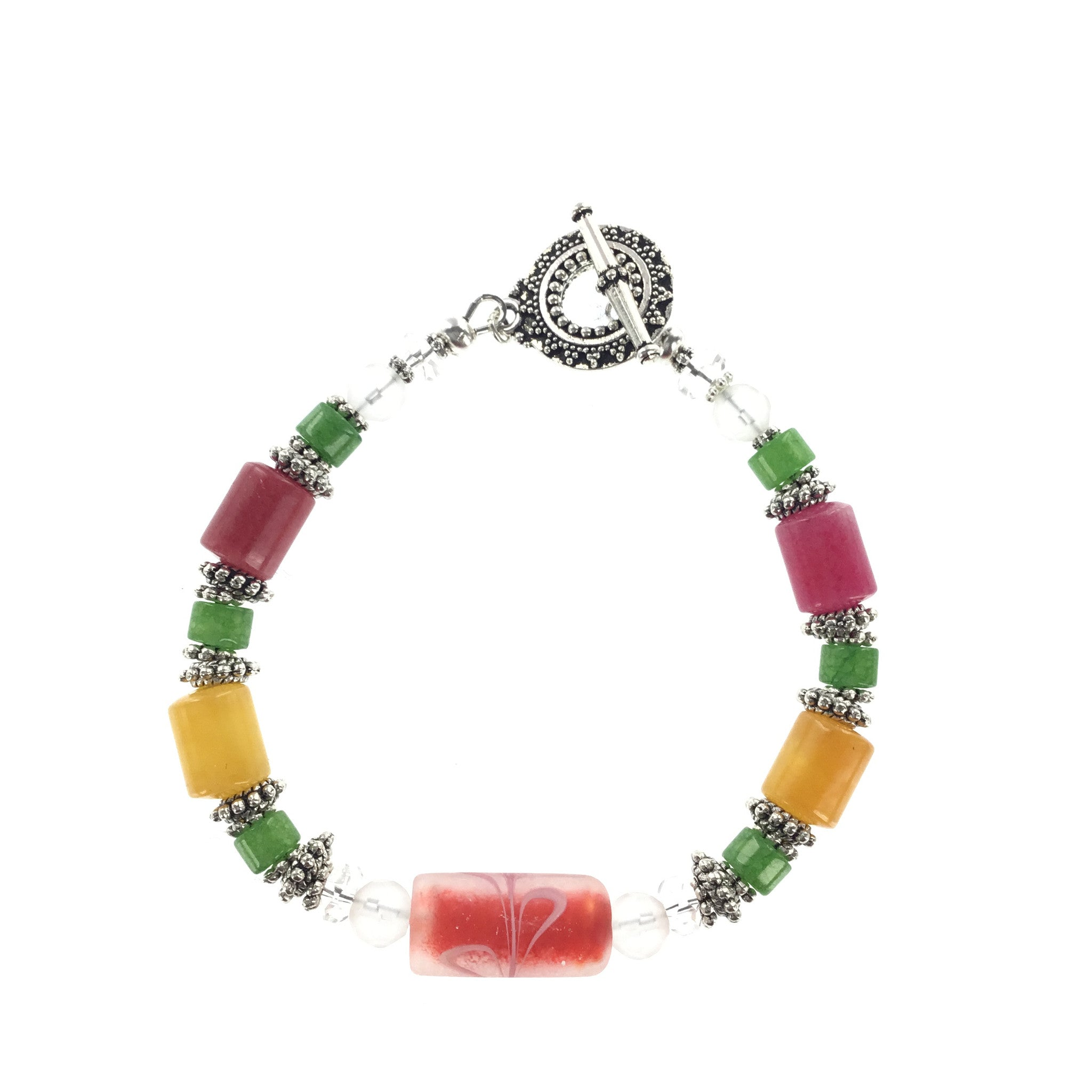 Jade and  Frosted Glass Bracelet - Real Chic Boutique  - 4