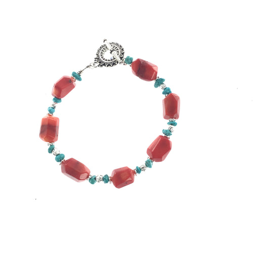 Red Coral and Turquoise Bracelet - Real Chic Boutique  - 1
