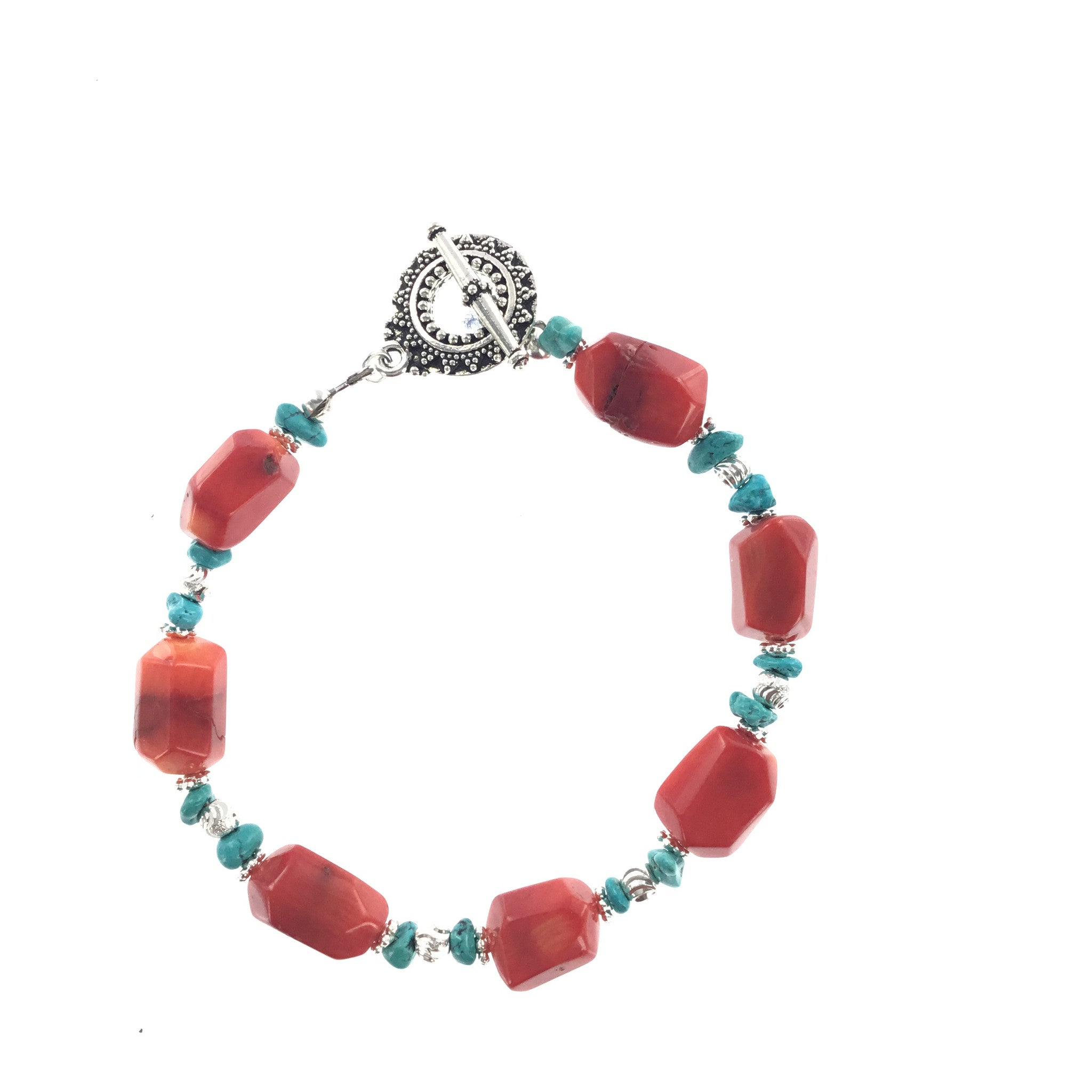 Red Coral and Turquoise Bracelet - Real Chic Boutique  - 2