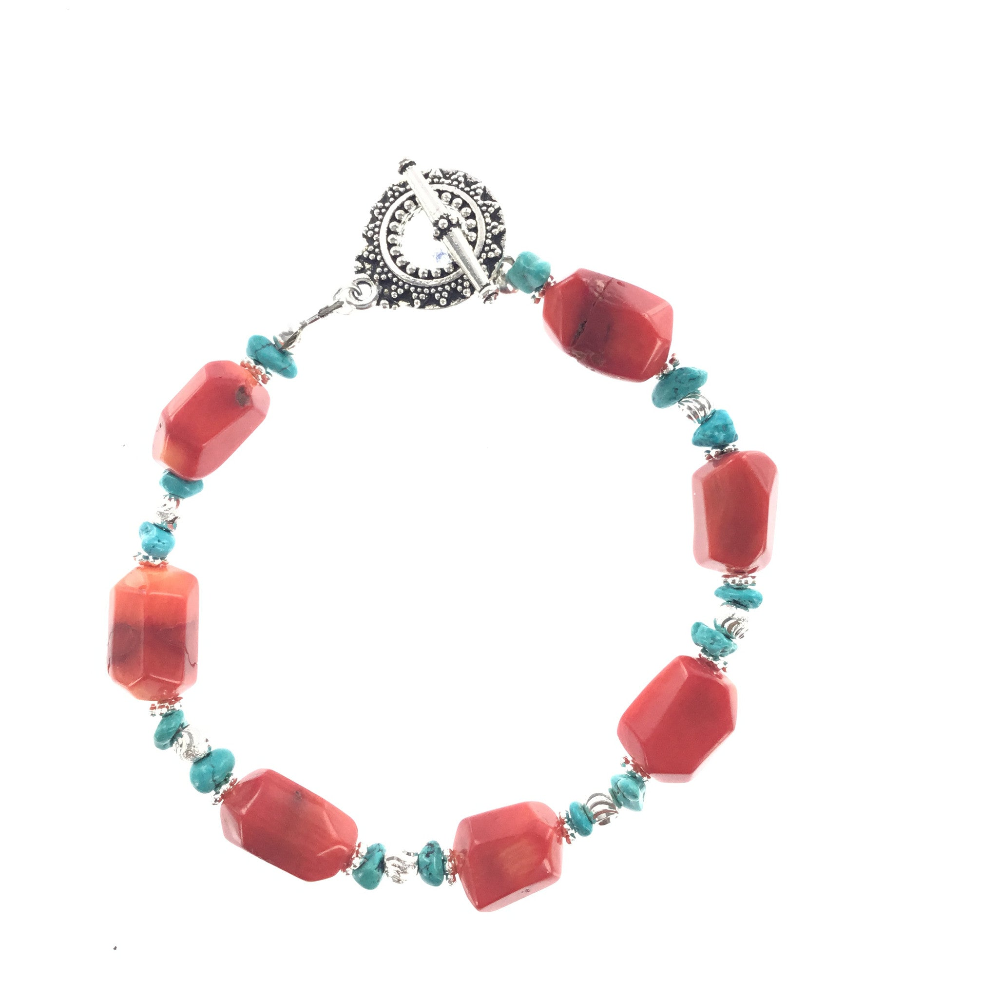 Red Coral and Turquoise Bracelet - Real Chic Boutique  - 4