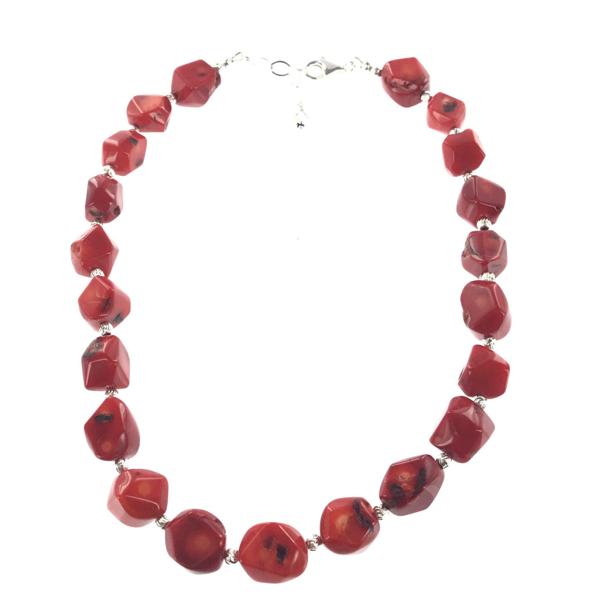 Red Coral and Silver Necklace - Real Chic Boutique  - 1