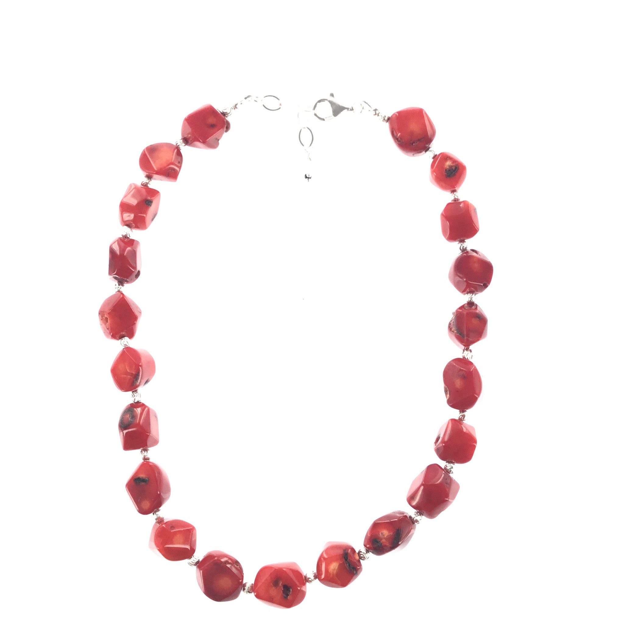 Red Coral and Silver Necklace - Real Chic Boutique  - 2