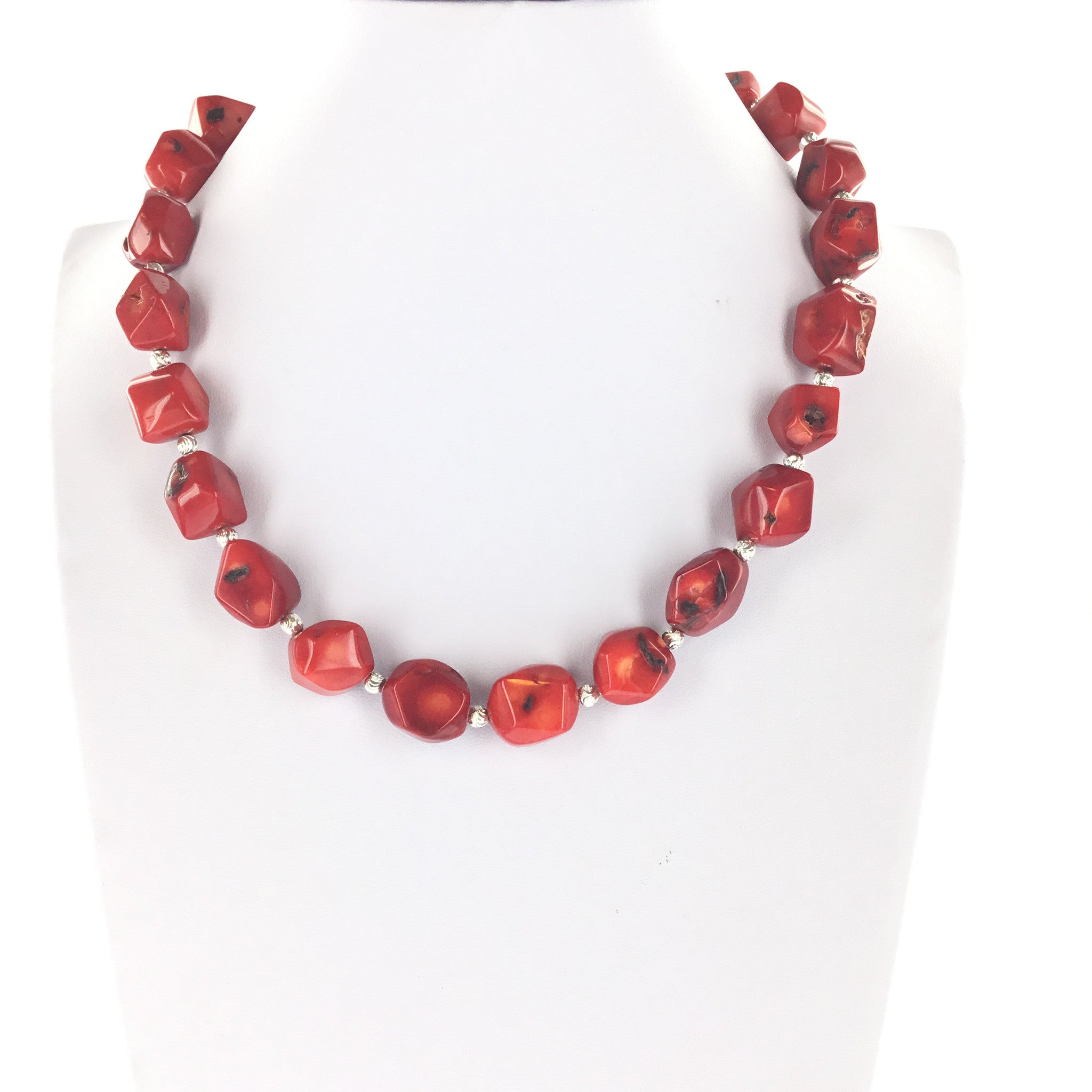 Red Coral and Silver Necklace - Real Chic Boutique  - 3