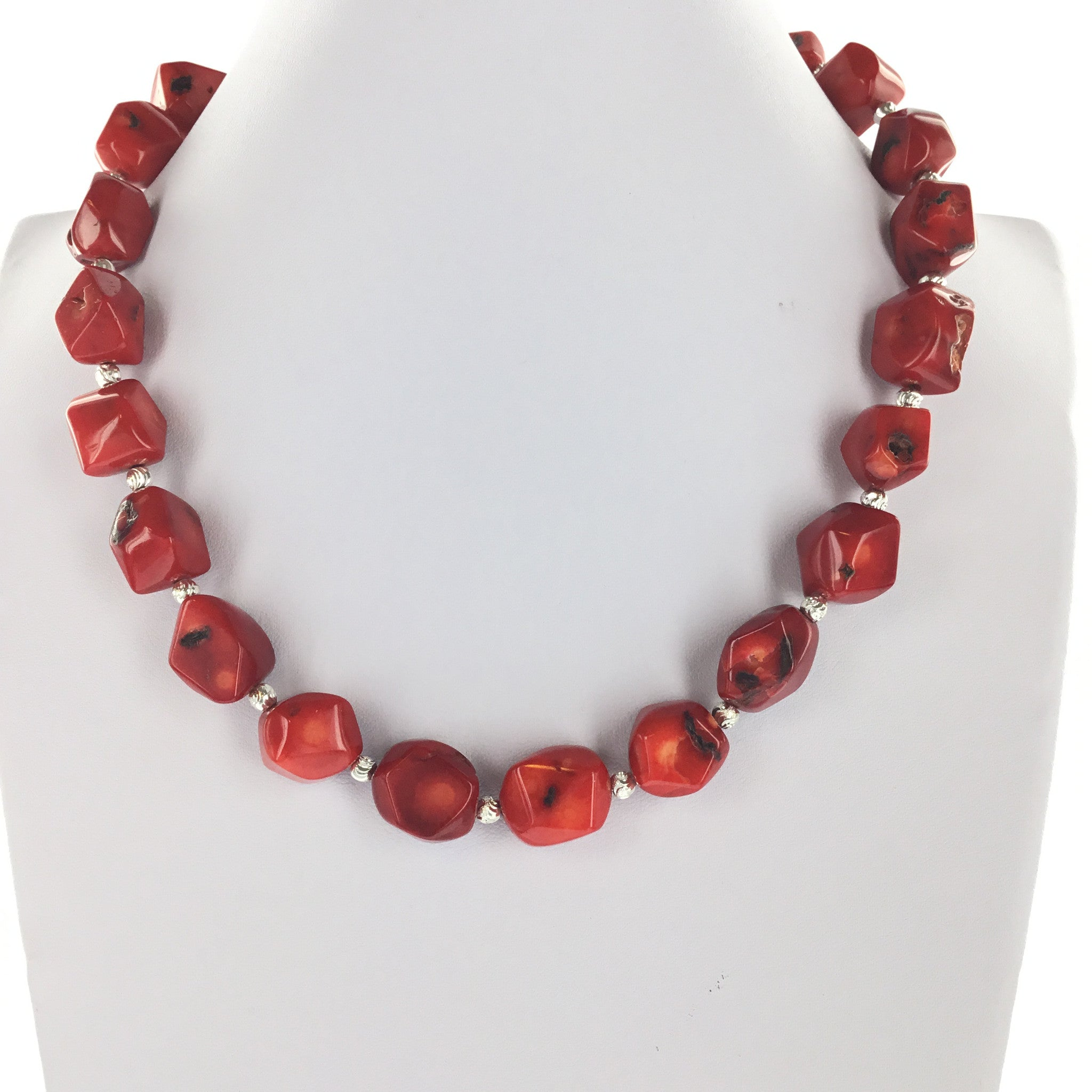 Red Coral and Silver Necklace - Real Chic Boutique  - 4