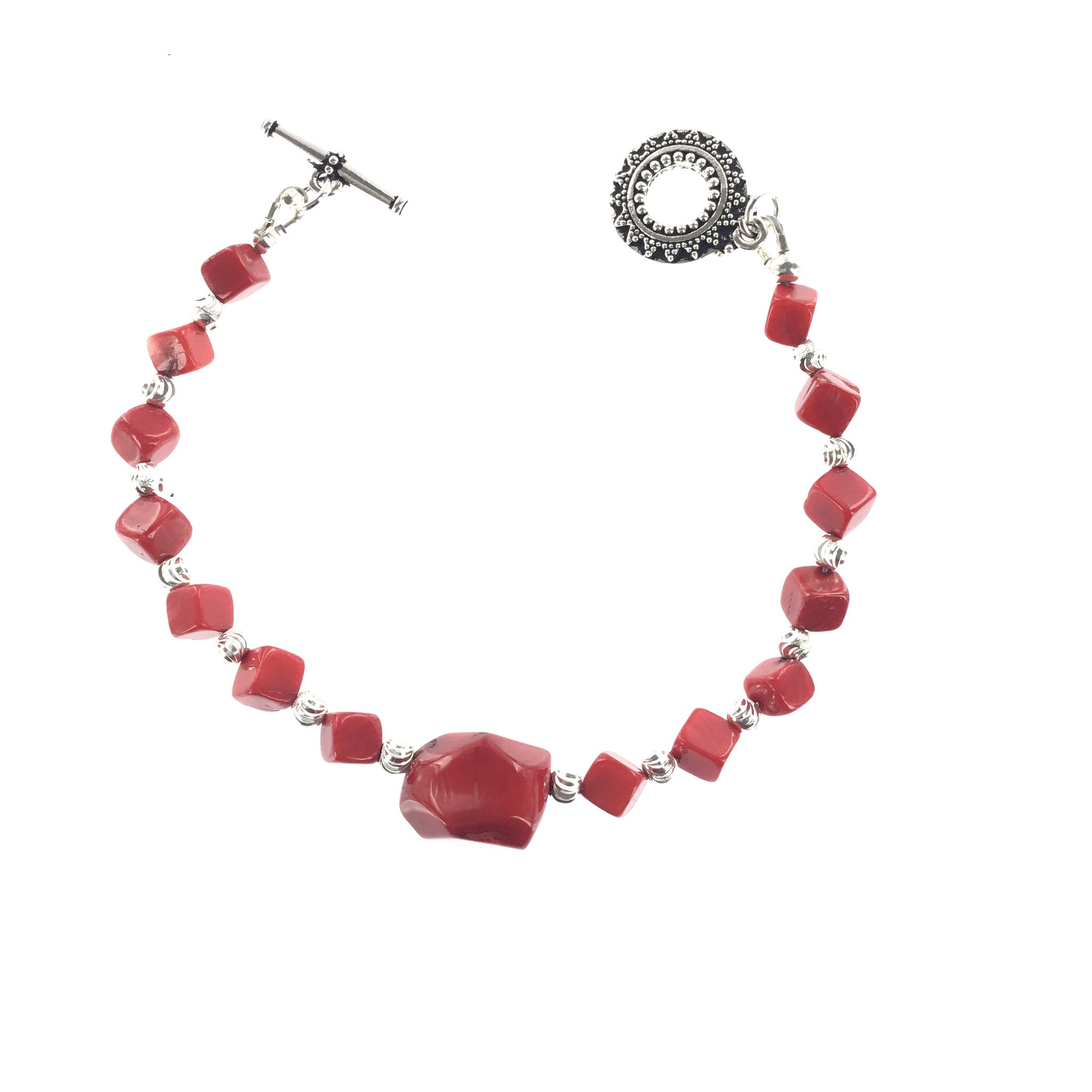 Red Coral and Silver Bracelet - Real Chic Boutique  - 1