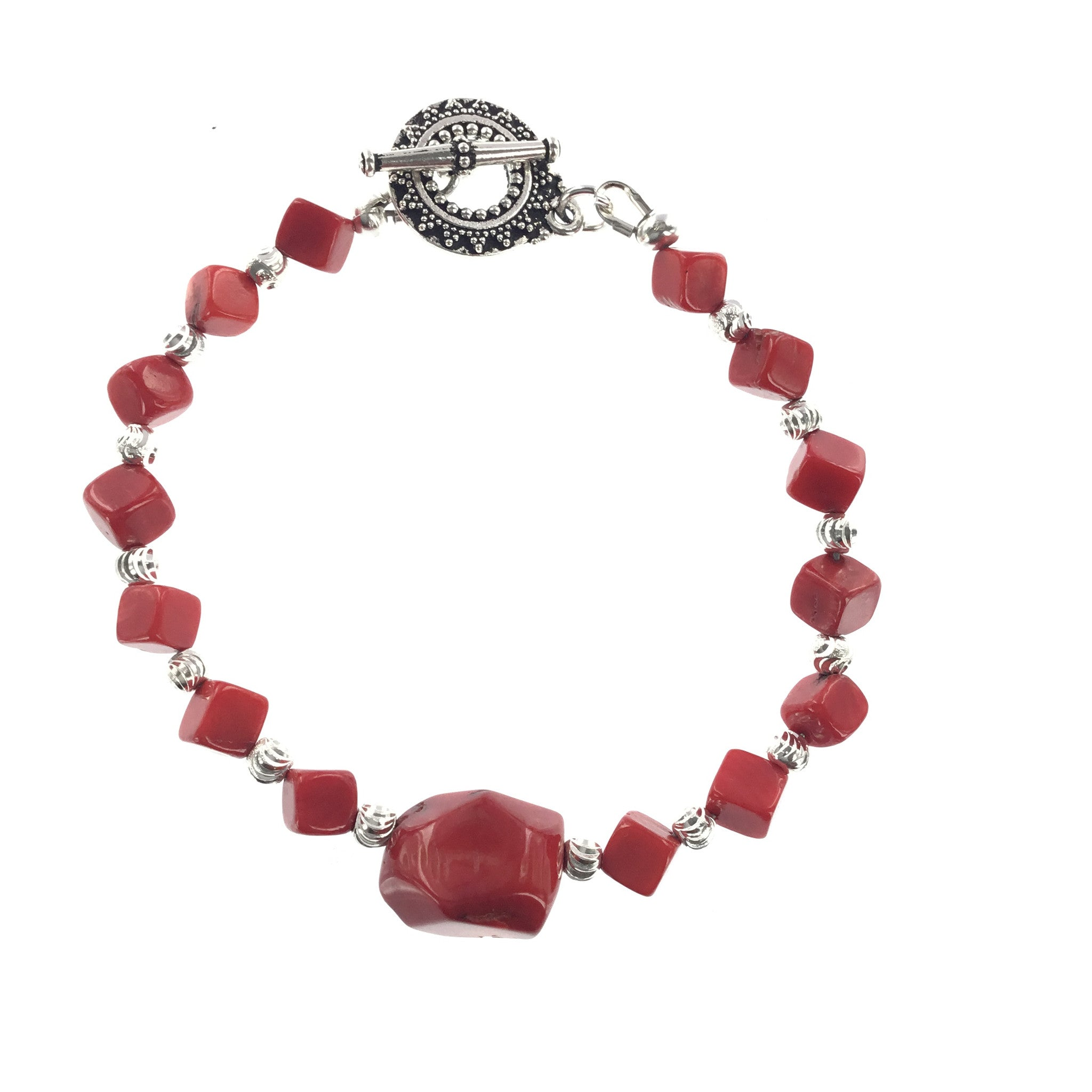 Red Coral and Silver Bracelet - Real Chic Boutique  - 3