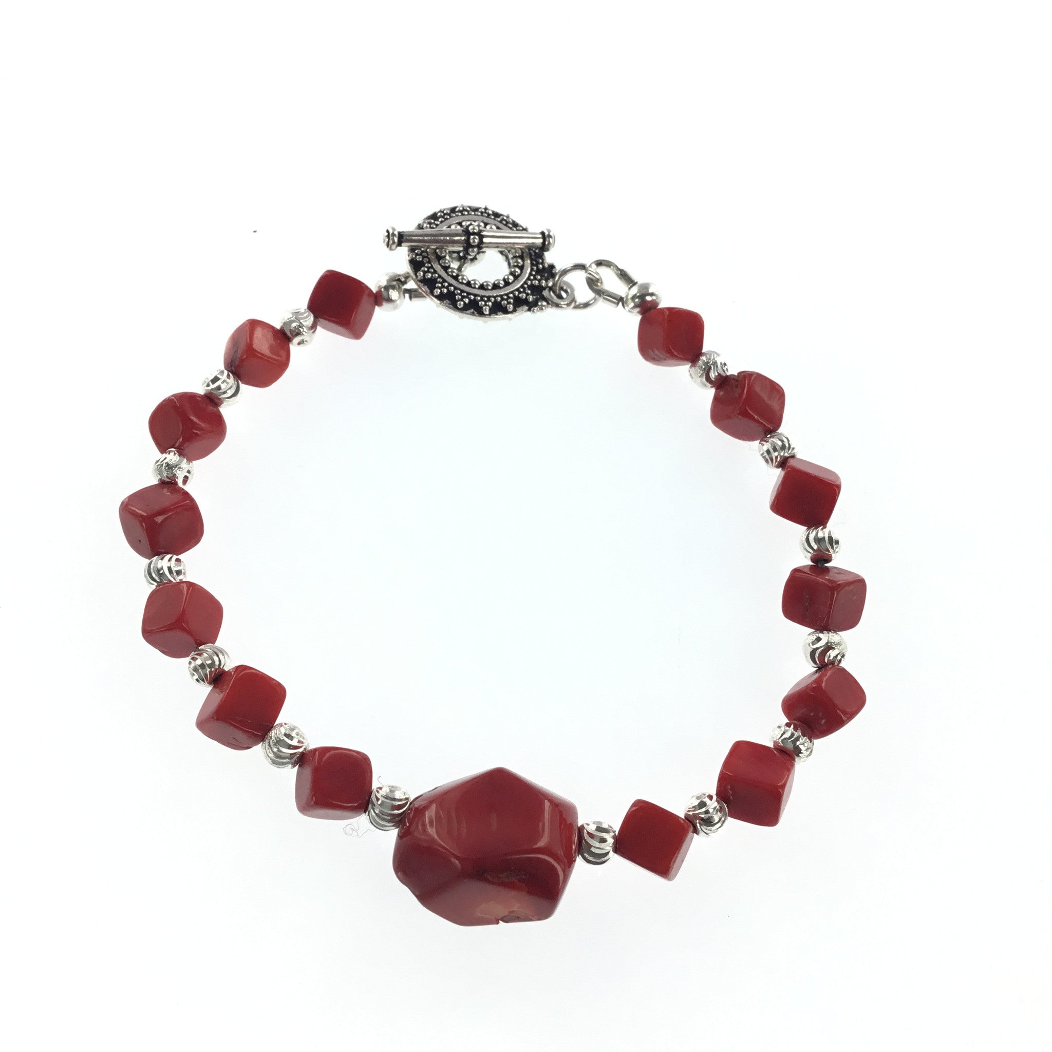 Red Coral and Silver Bracelet - Real Chic Boutique  - 4