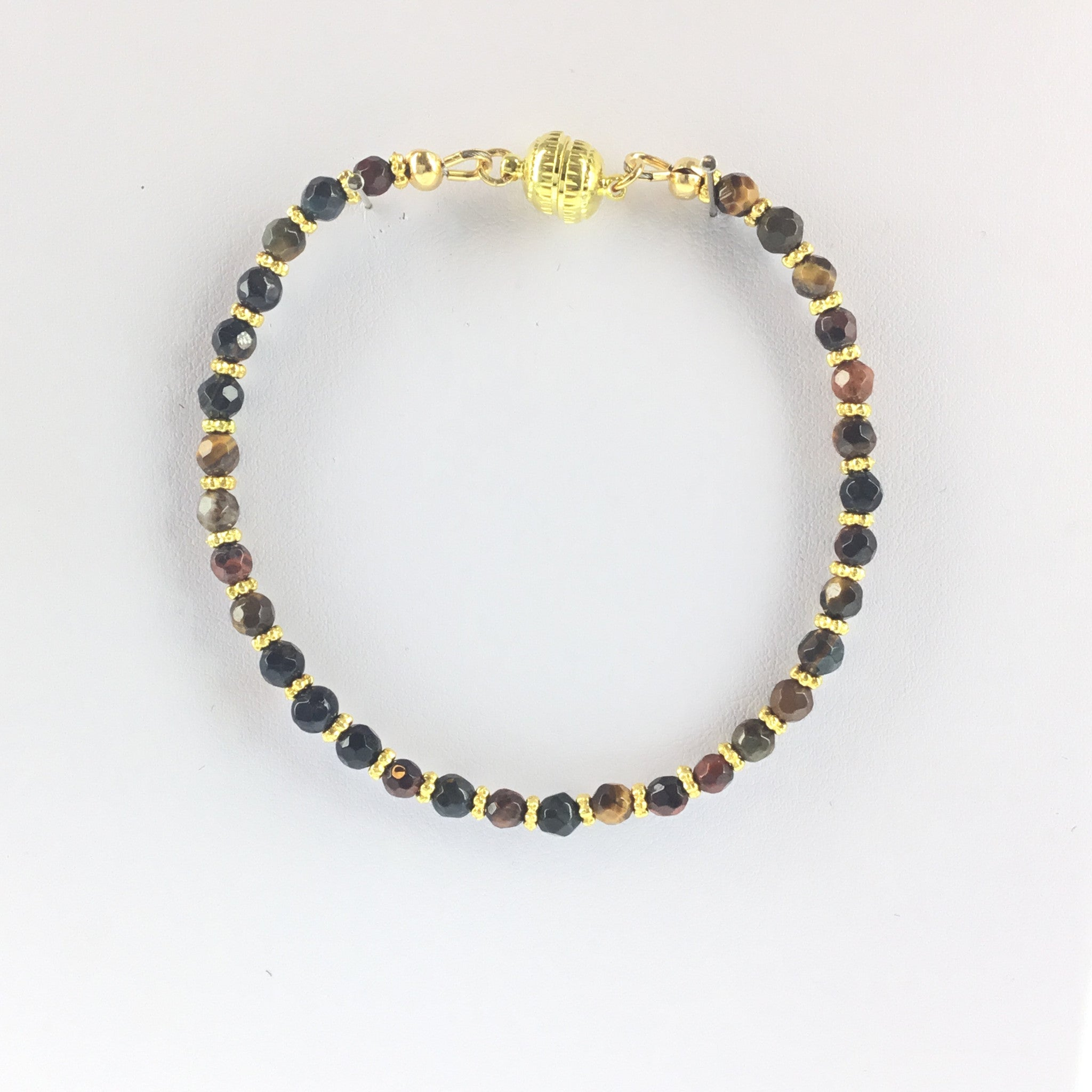 Tiger-Eye and Gold Bracelet - Real Chic Boutique  - 3