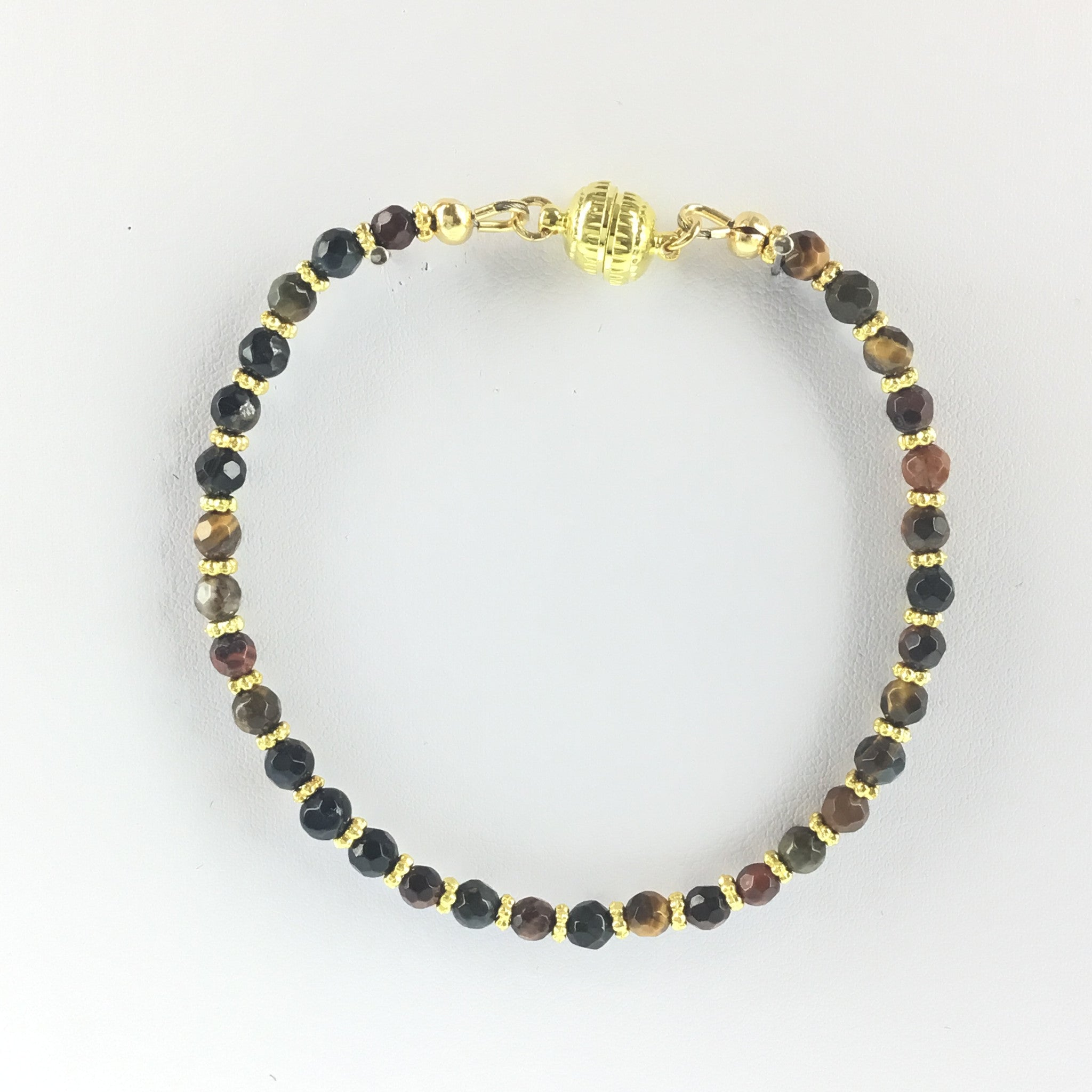 Tiger-Eye and Gold Bracelet with Lobster Clasp - Real Chic Boutique  - 2